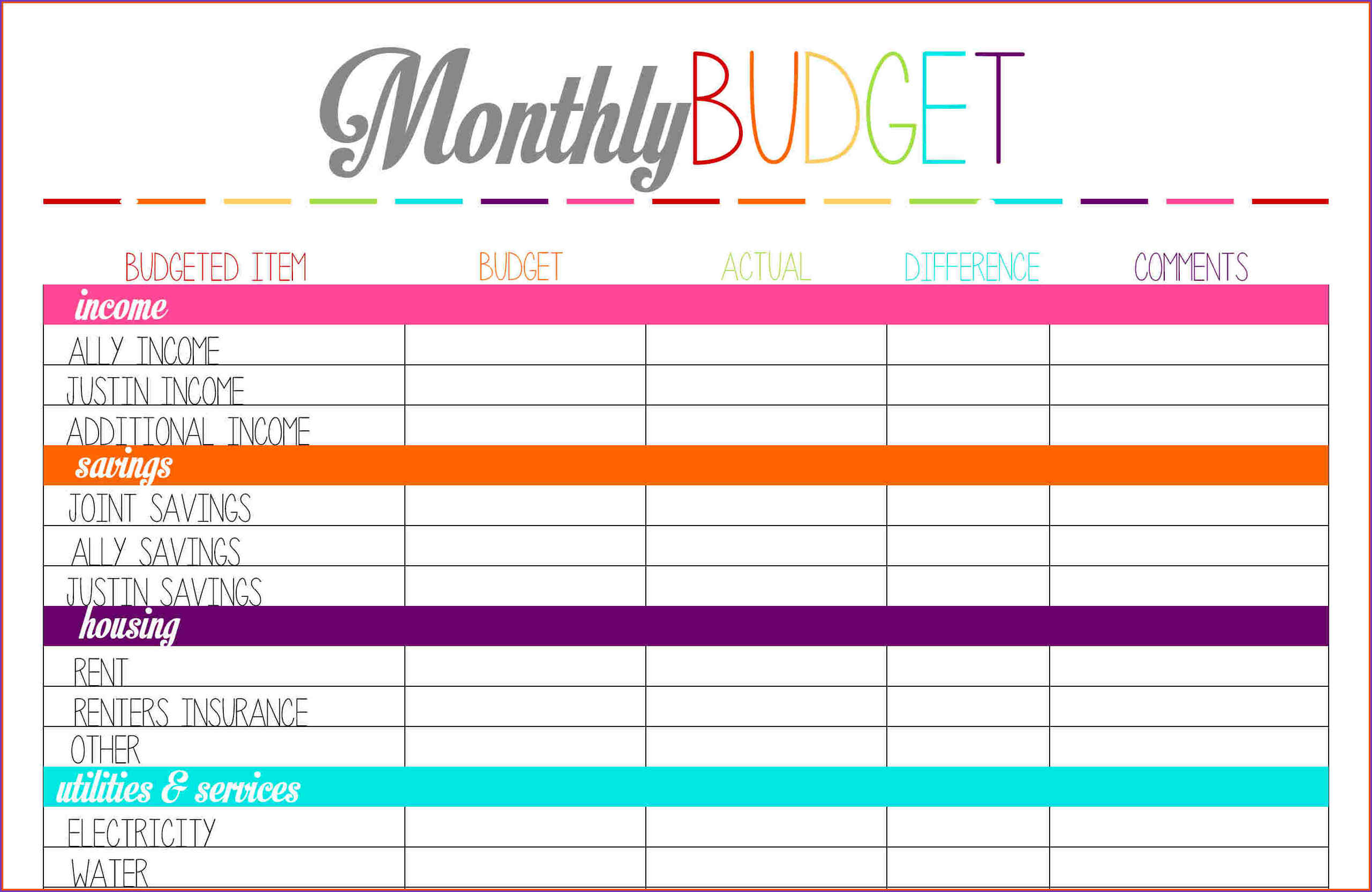 001 Home Budget Spreadsheet Free Monthly Planner - Free Printable | Easy Budget Planner Free Printable Worksheets