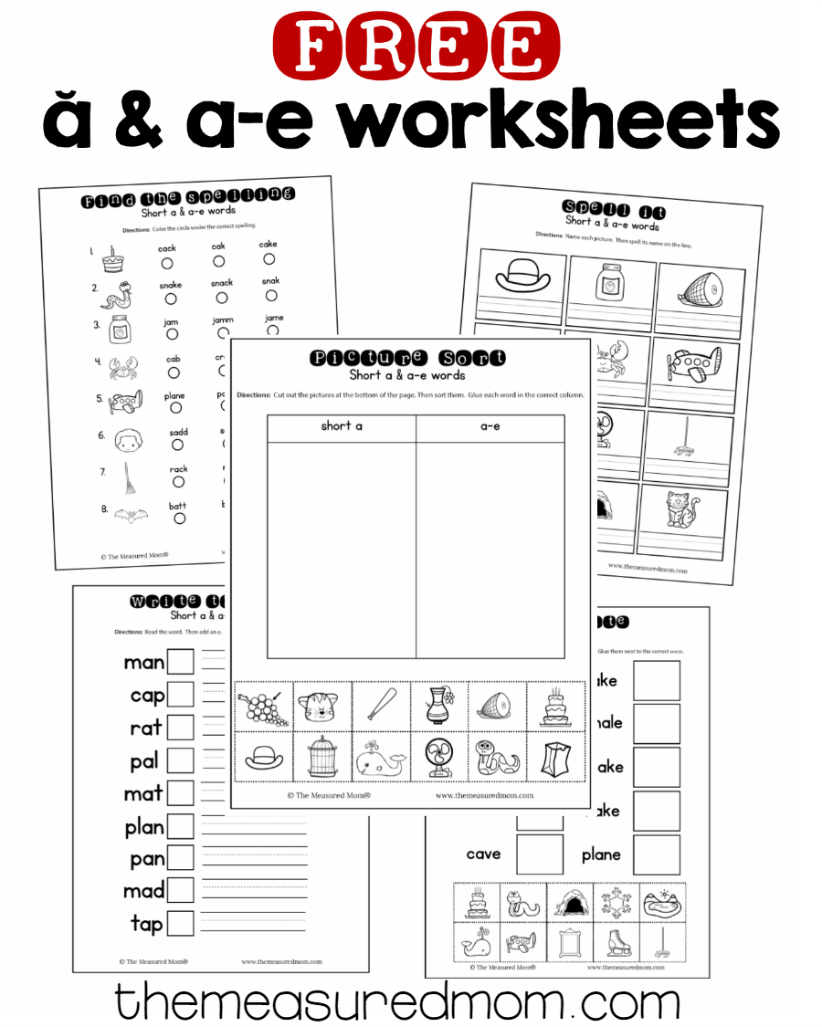 10 Free Short A & A-E Worksheets - The Measured Mom | Free Printable Ay Word Family Worksheets