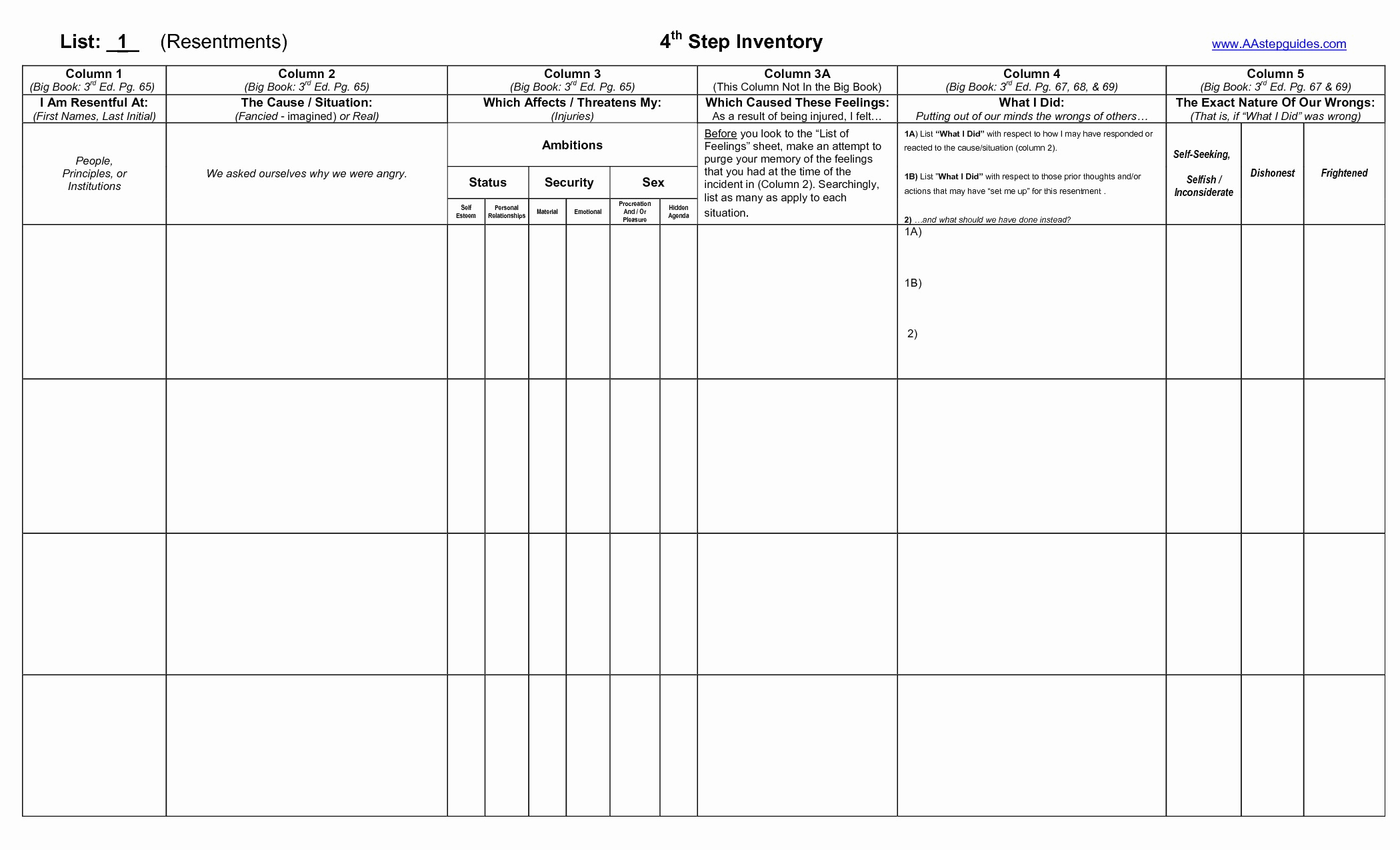 20 Aa 5Th Step Worksheet – Diocesisdemonteria | Aa 12 Steps Printable Worksheets