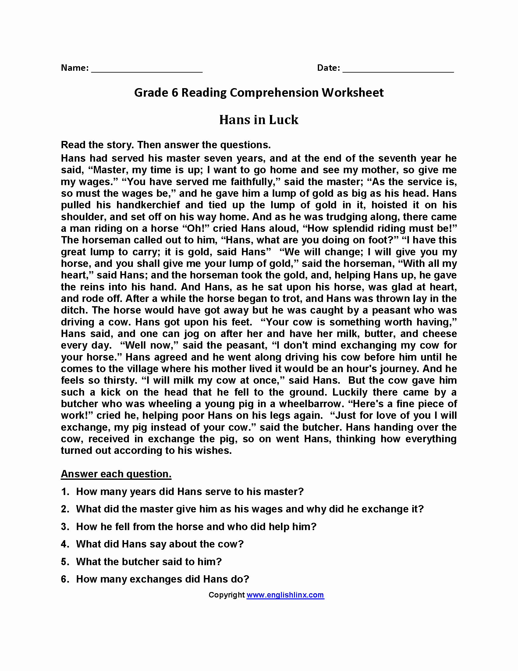 20 Free Printable Reading Comprehension Worksheets For 6Th Grade | Free Printable Reading Comprehension Worksheets Grade 5