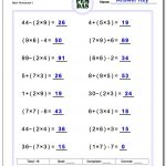 24 Printable Order Of Operations Worksheets To Master Pemdas!   Free | Free Printable Math Worksheets 6Th Grade Order Operations