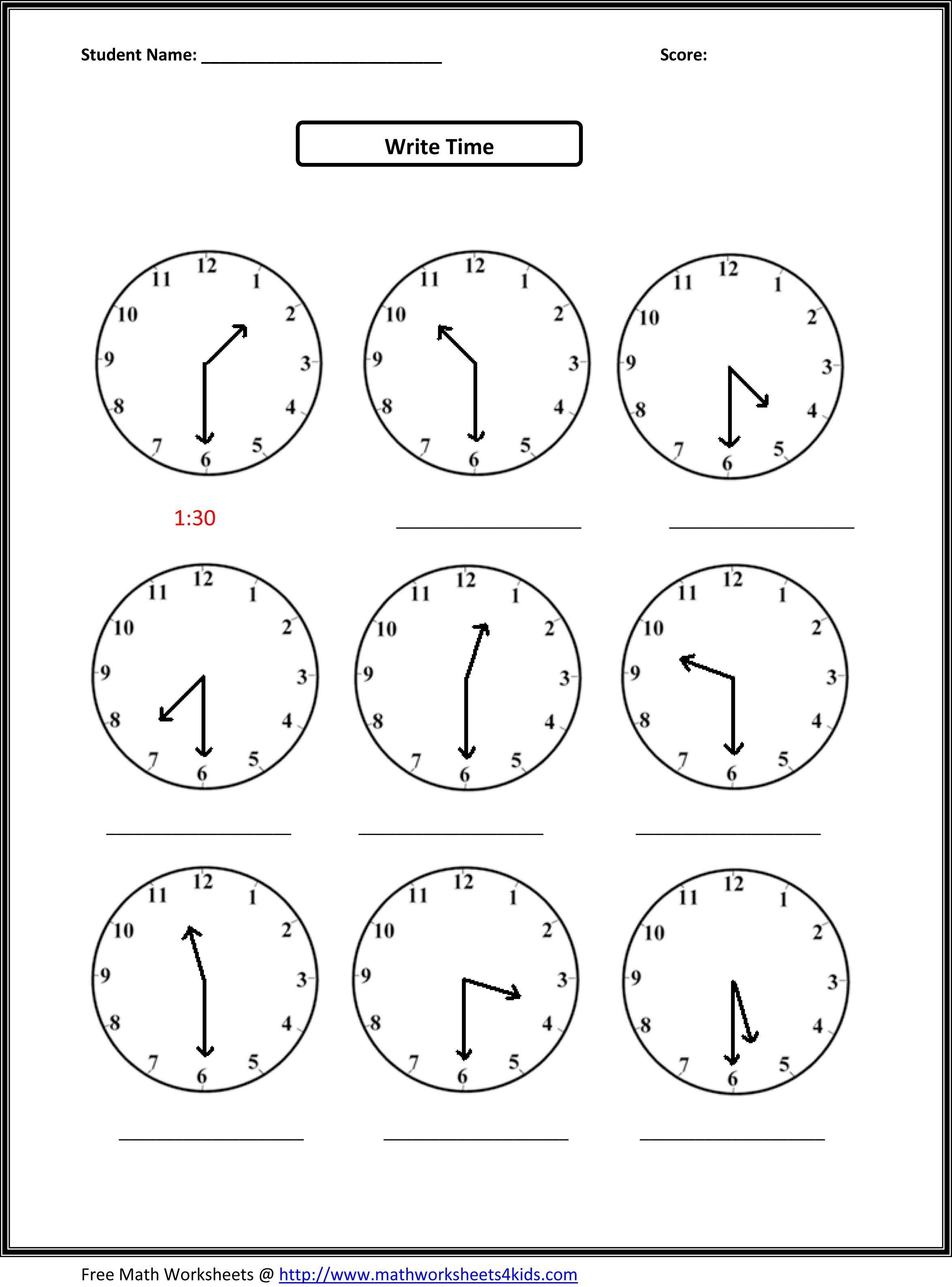 2Nd Grade Free Worksheets Math   Math: Time/measurement   2Nd Grade   Second Grade Printable Worksheets