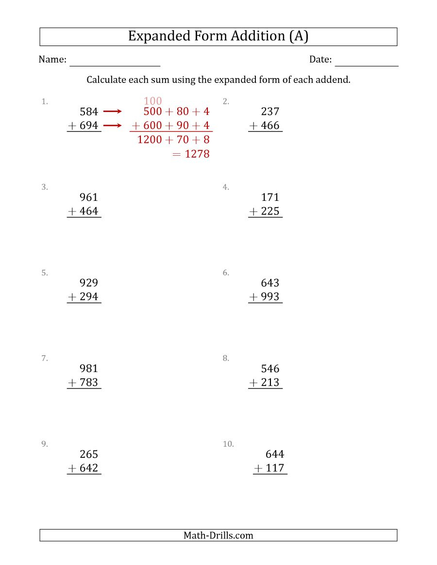 3-Digit Expanded Form Addition (A) - Free Printable Expanded | Free Printable Expanded Notation Worksheets