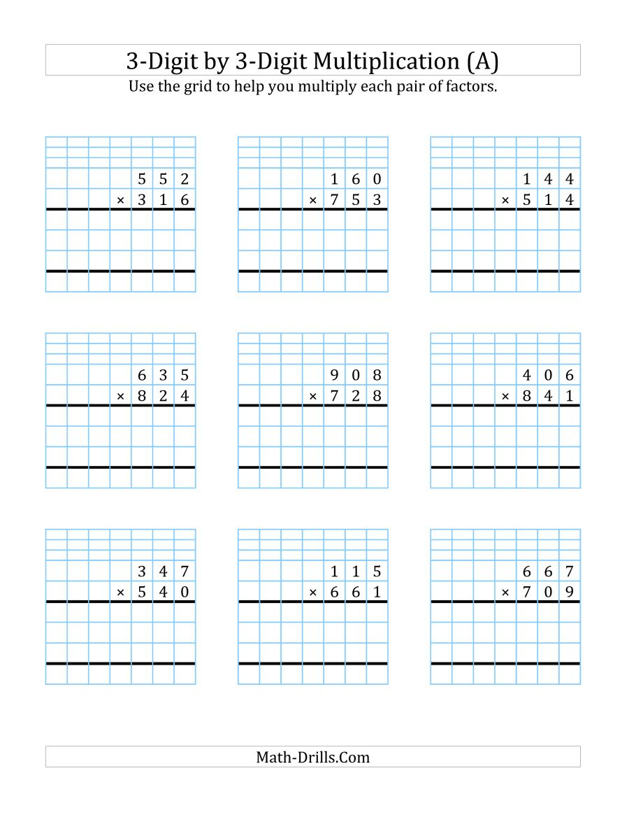 3-Digit3-Digit Multiplication With Grid Support (A) | 3 Digit Multiplication Worksheets Printable