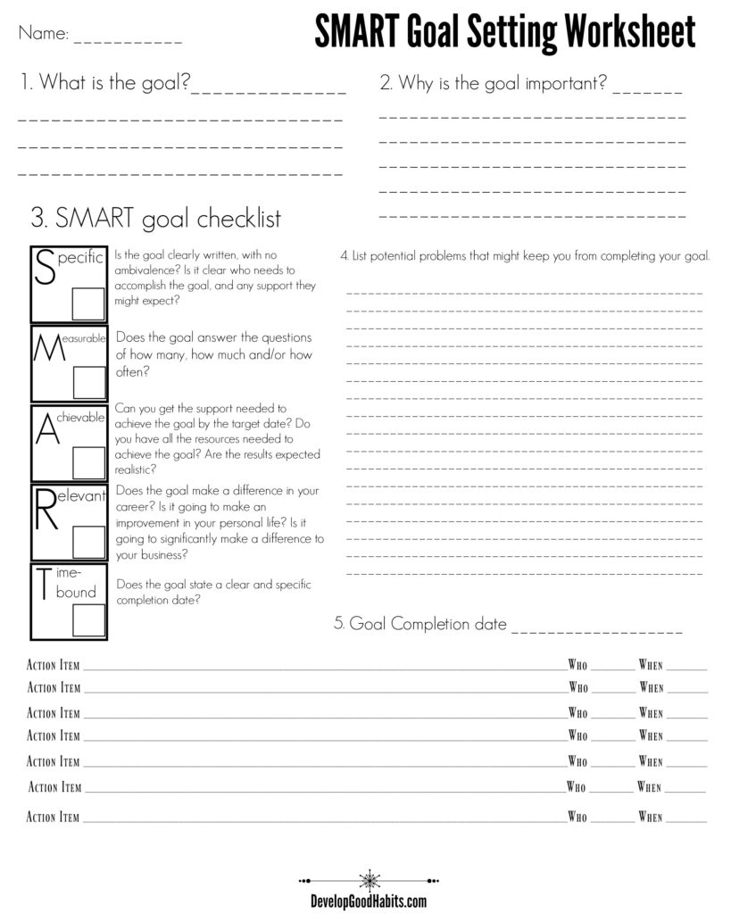4 Free Goal Setting Worksheets – 4 Goal Templates To Manage Your Life | Free Printable Goal Setting Worksheets For Students