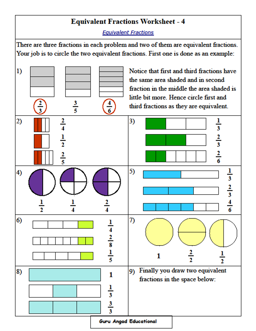 4Th Grade Math - Equivalent Fractions Worksheets — Steemit | 4Th Grade Equivalent Fractions Printable Worksheets