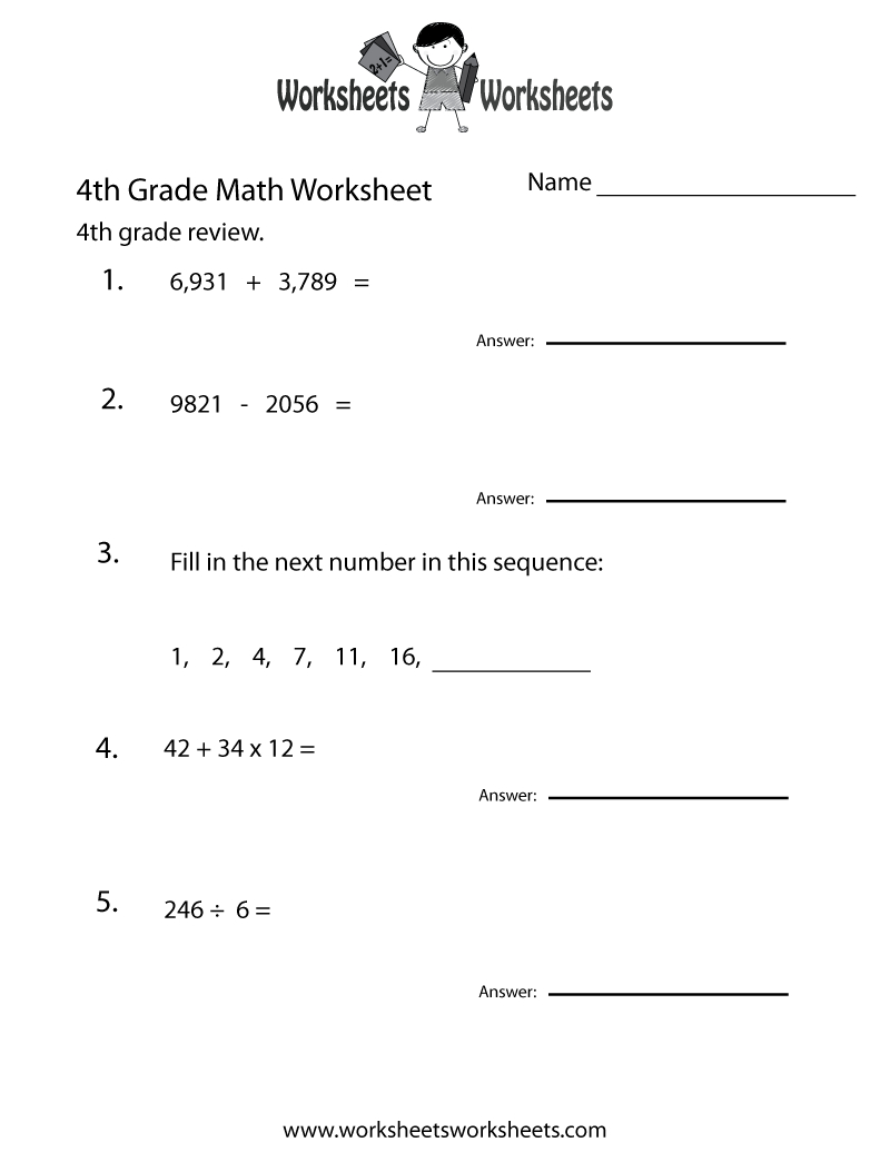 4Th Grade Math Review Worksheet - Free Printable Educational | 4Th Grade Printable Worksheets