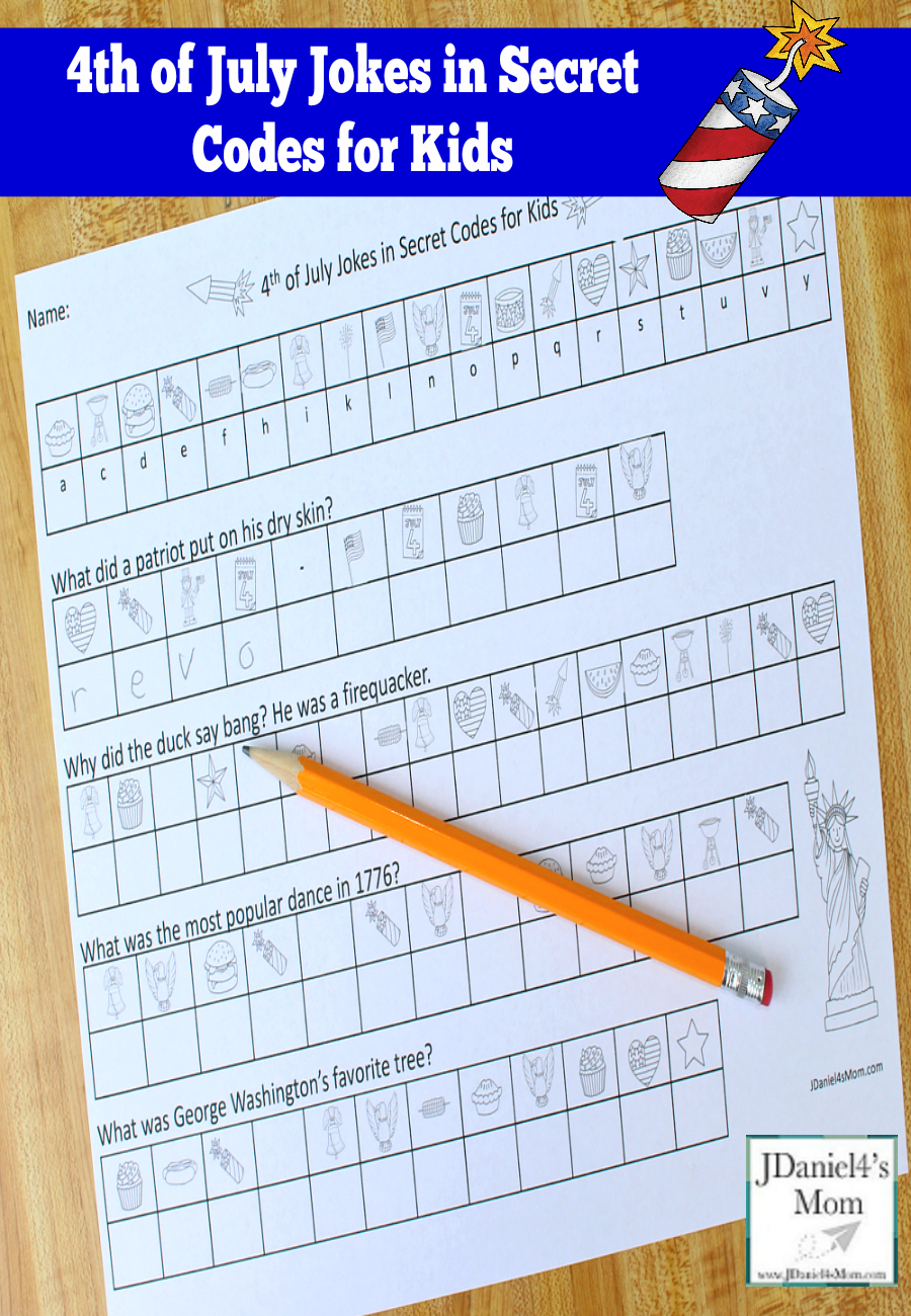 4Th Of July Jokes In Secret Codes For Kids | Printable Secret Code Worksheets