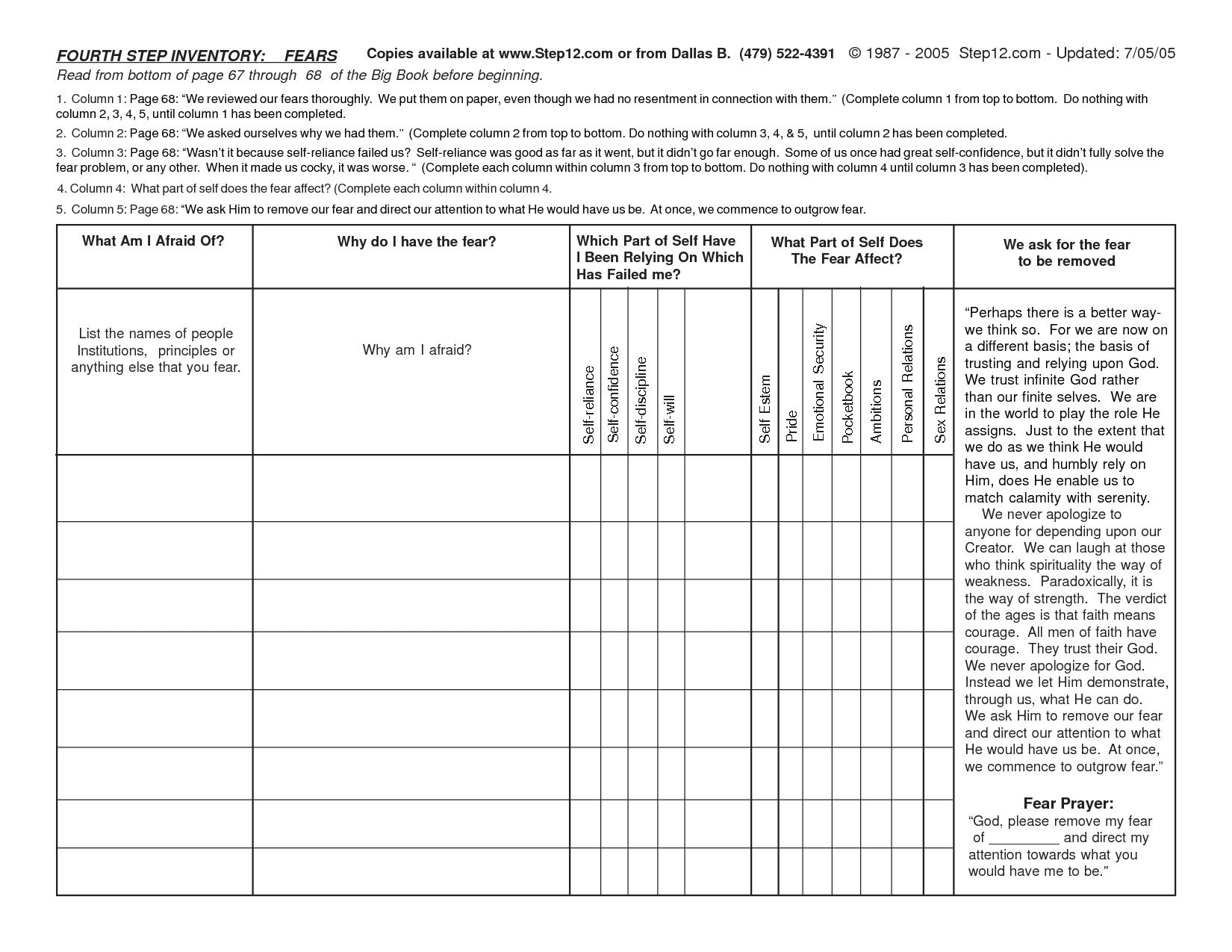 4Th Step Worksheet - Siteraven | Printable Aa Step Worksheets