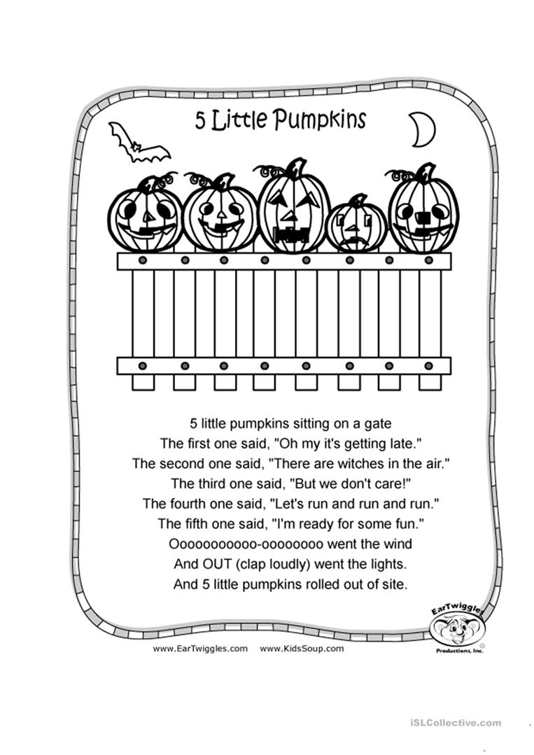 5 Little Pumpkins Worksheet - Free Esl Printable Worksheets Made | Five Little Pumpkins Printable Worksheet