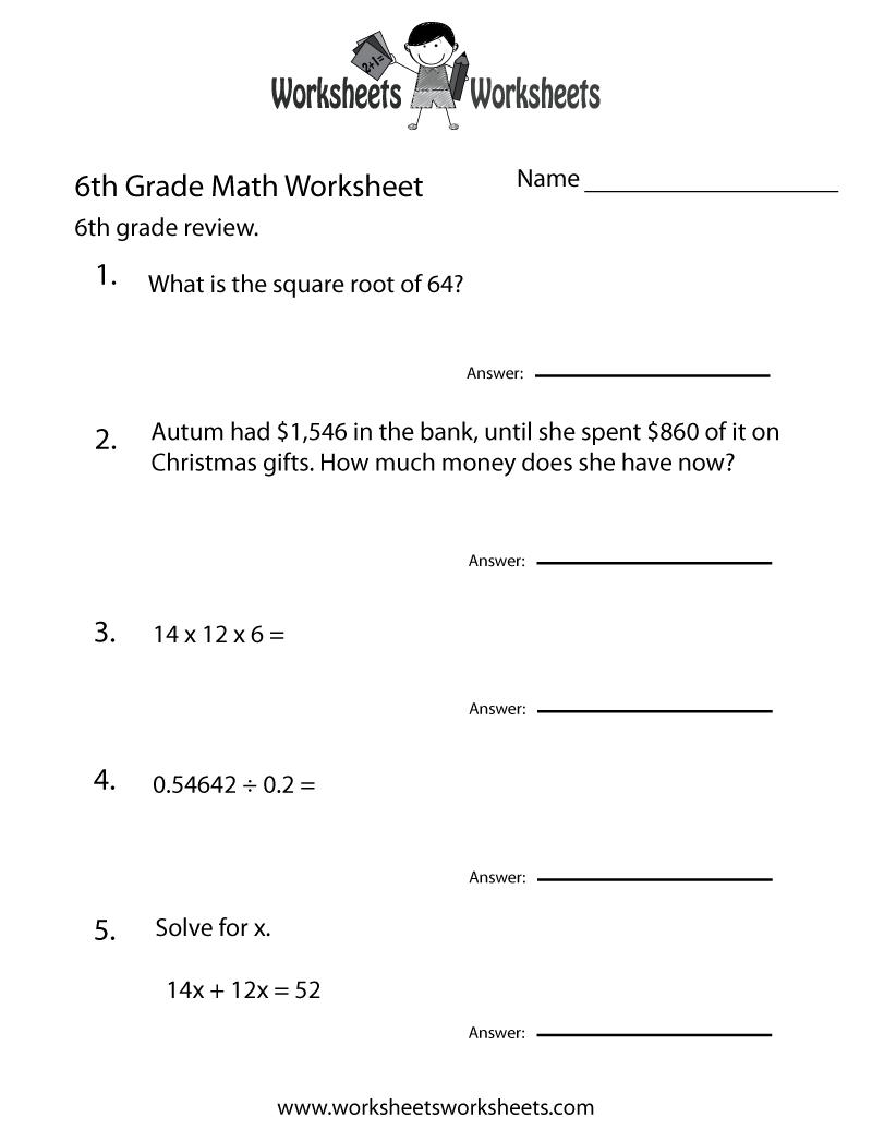 6 Grade Math Worksheets | Sixth Grade Math Practice Worksheet - Free | Year 6 Maths Worksheets Free Printable