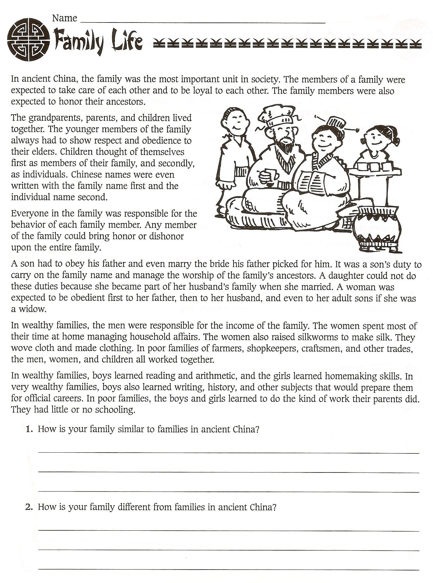 6Th Grade Social Studies Ancient China Worksheets - Free | Ancient China Printable Worksheets