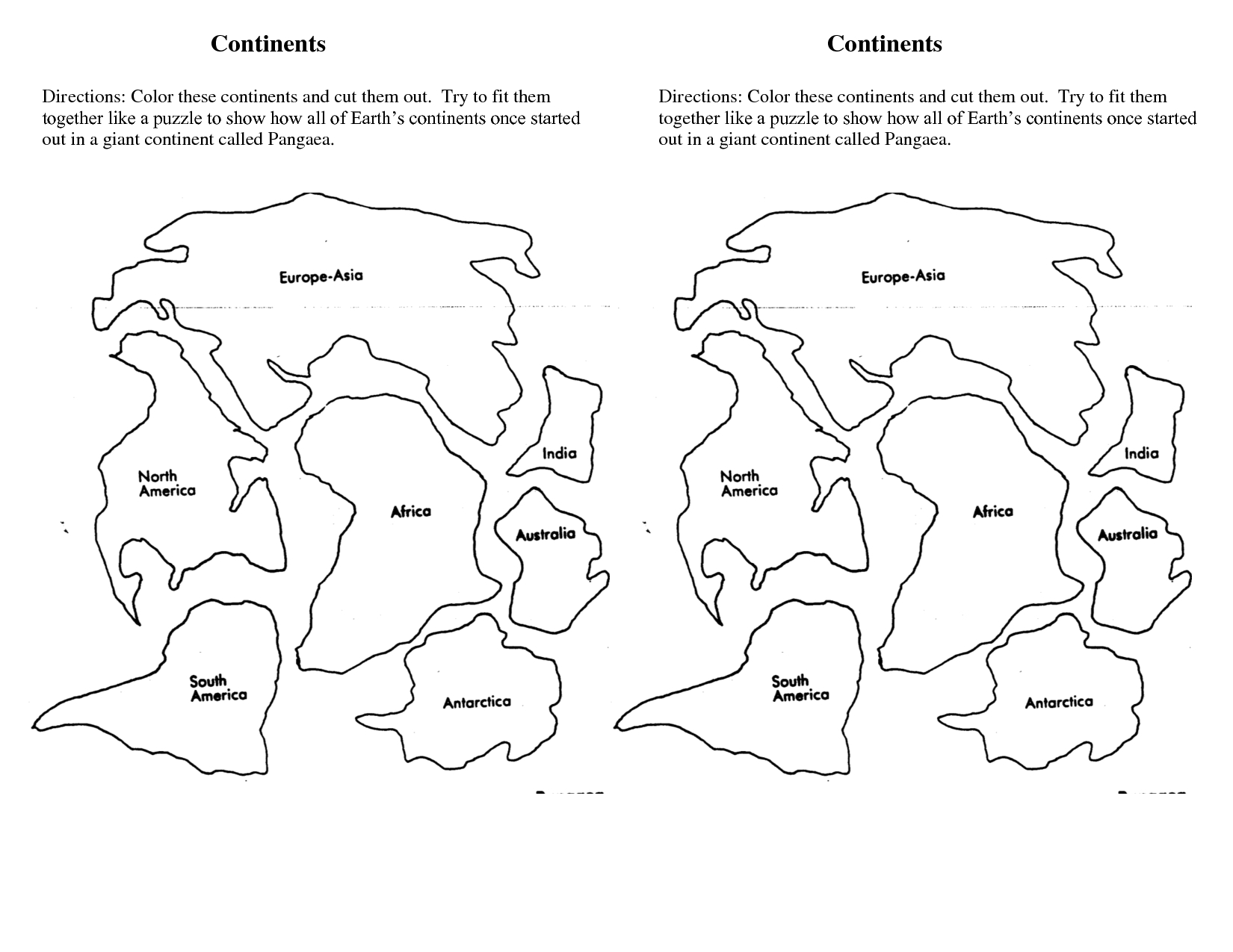 7 Continents Cut Outs Printables | World Map Printable | World Map | Continents Worksheet Printable