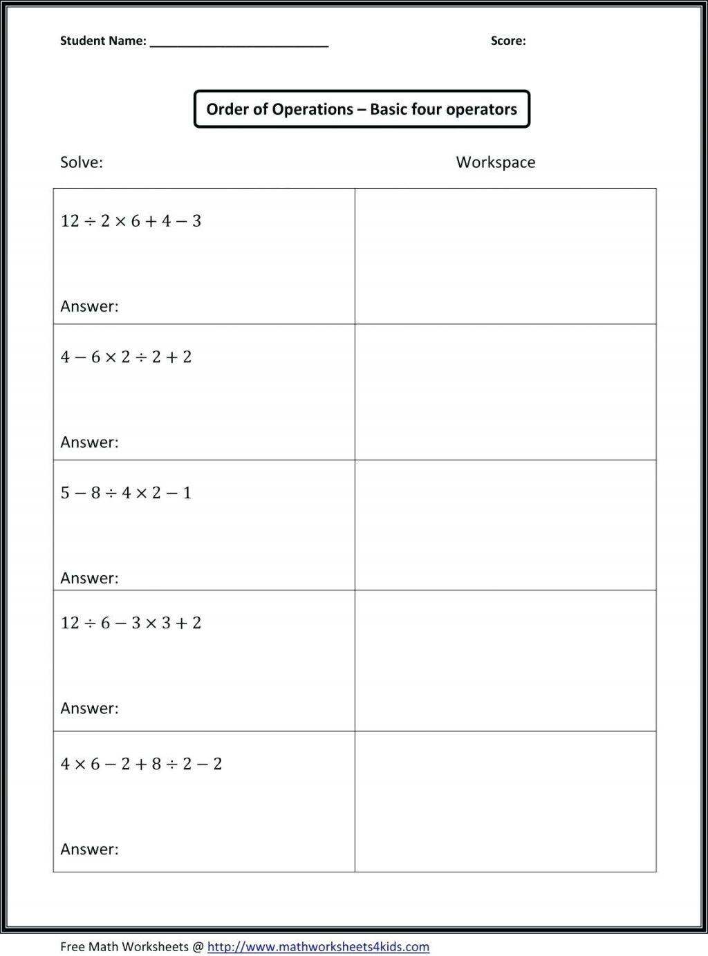 7Th Grade Math Pemdas Worksheets Rule Order Of Operations Tiktokcook | Printable Pemdas Worksheets
