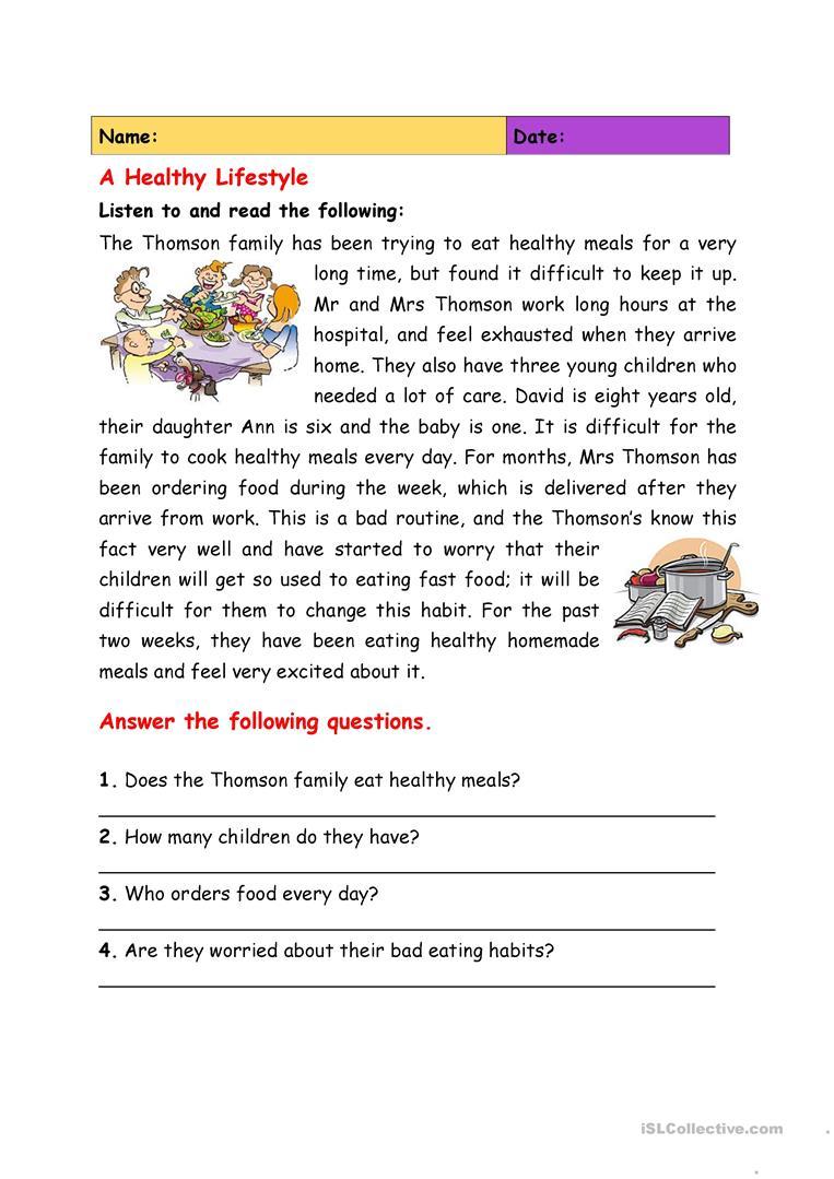 A Healthy Lifestyle Worksheet - Free Esl Printable Worksheets Made | 4Th Grade Health Printable Worksheets