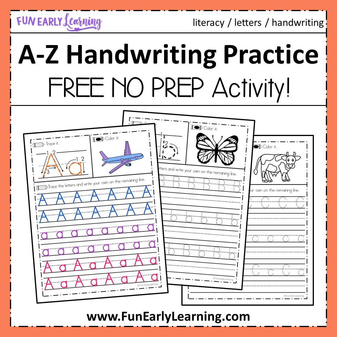 A-Z Handwriting Practice No Prep Worksheets For Learning Letters | Free Printable Worksheets Handwriting Practice