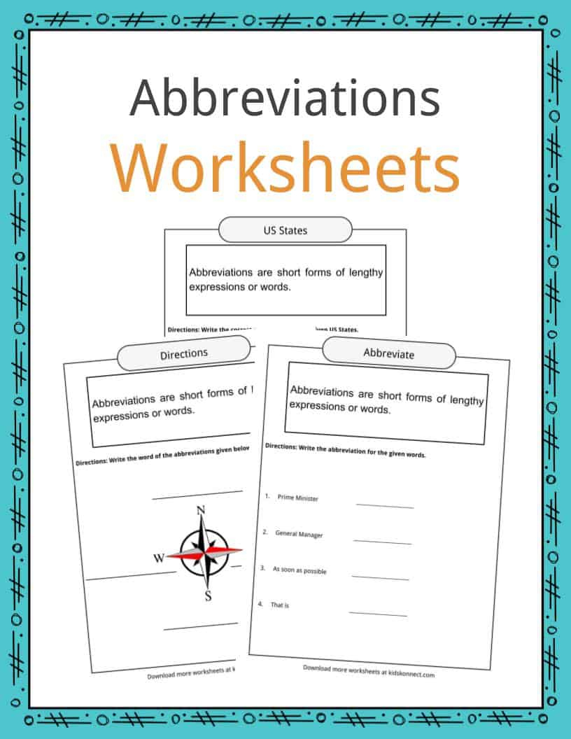 Abbreviations Worksheets, Examples & Definition For Kids | Free Printable Abbreviation Worksheets