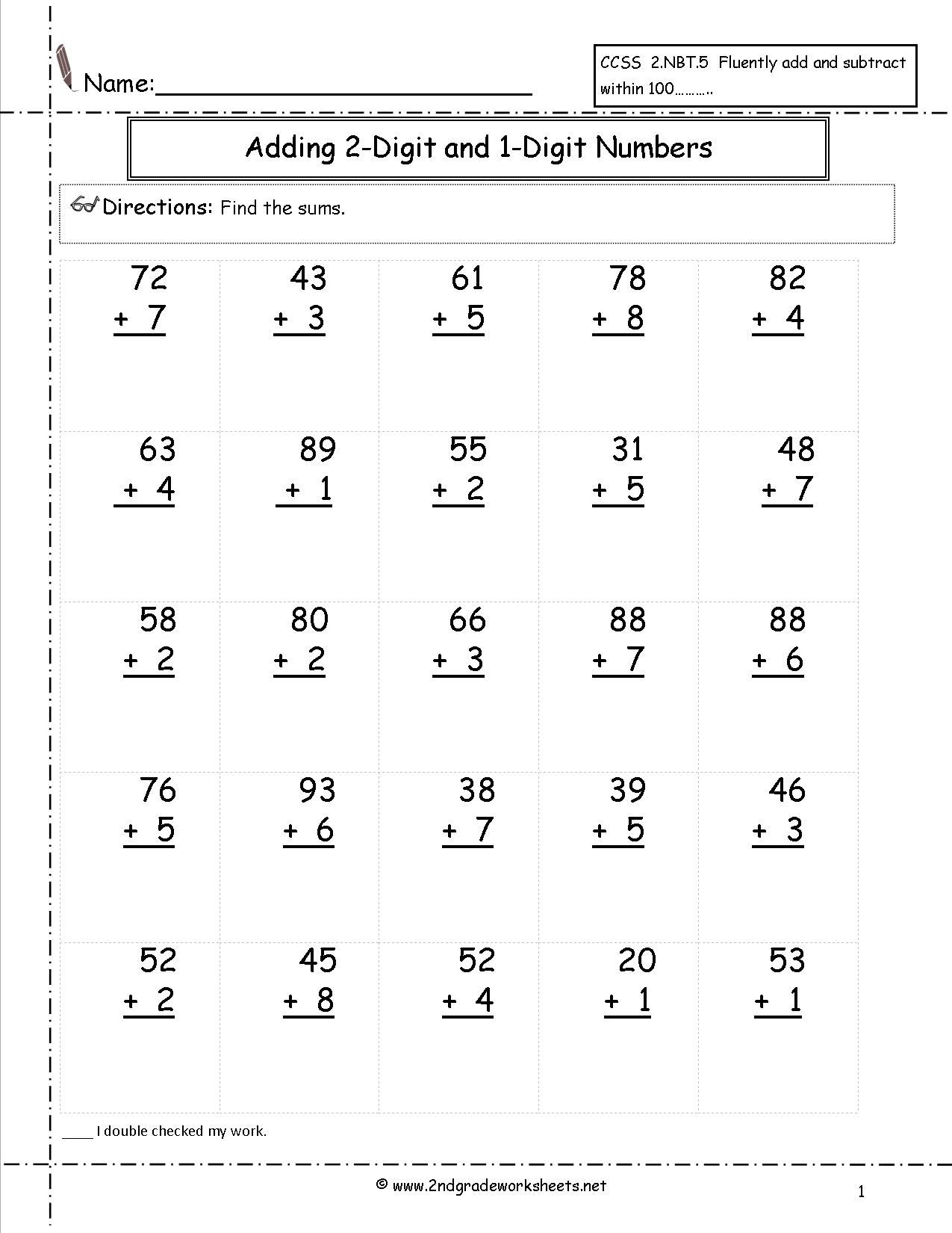 Adding Two Digit And One Digit Numbers | Satta | Addition Worksheets | Free Printable Two Digit Addition Worksheets