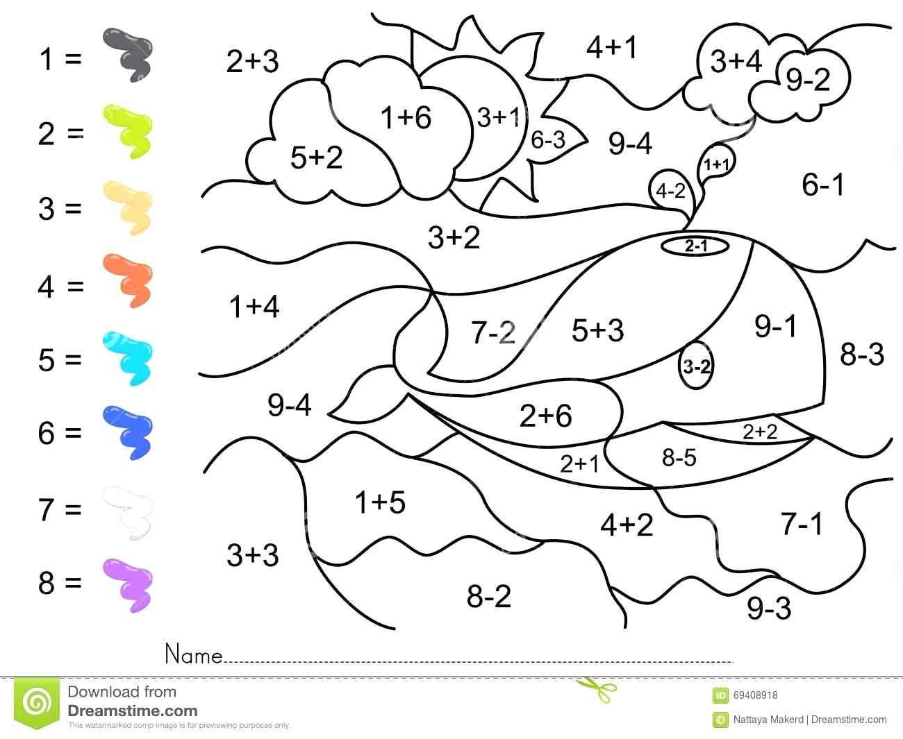 Addition And Subtraction Worksheets Kindergarten Kindergarten | Free Printable Color By Number Subtraction Worksheets