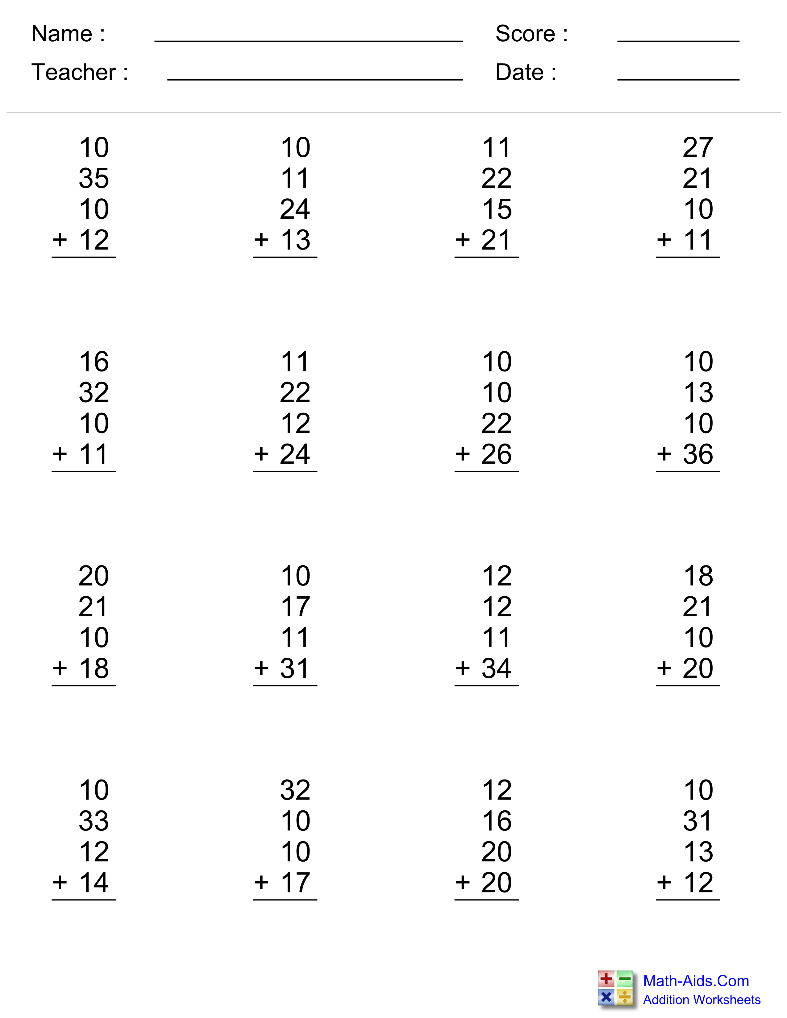 Addition Worksheets | Dynamically Created Addition Worksheets | Printable Addition Worksheets