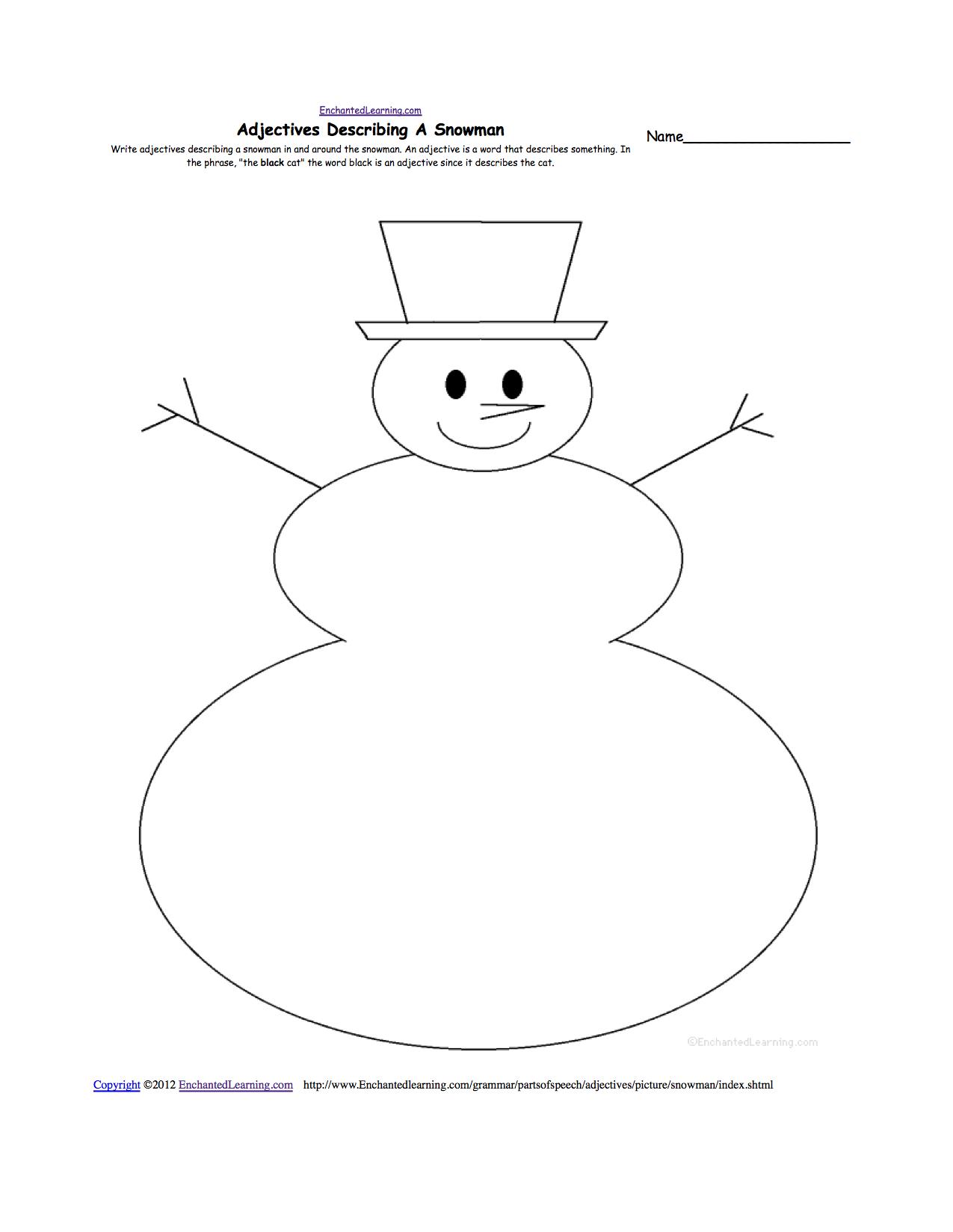 Adjectives Describing A Snowman - Printable Worksheet | Snowman Worksheet Printables