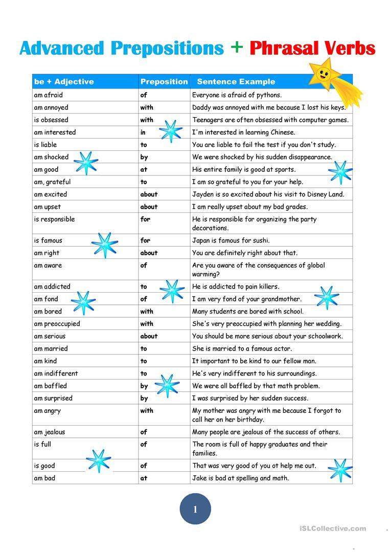 Advanced Prepostions Worksheet - Free Esl Printable Worksheets Made   Advanced Esl Grammar Printable Worksheets