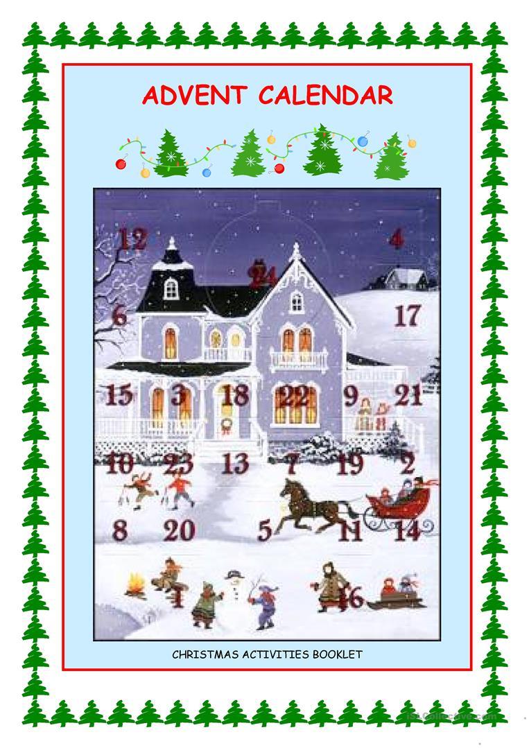 Advent Calendar - Christmas Activities Worksheet - Free Esl | Advent Printable Worksheets