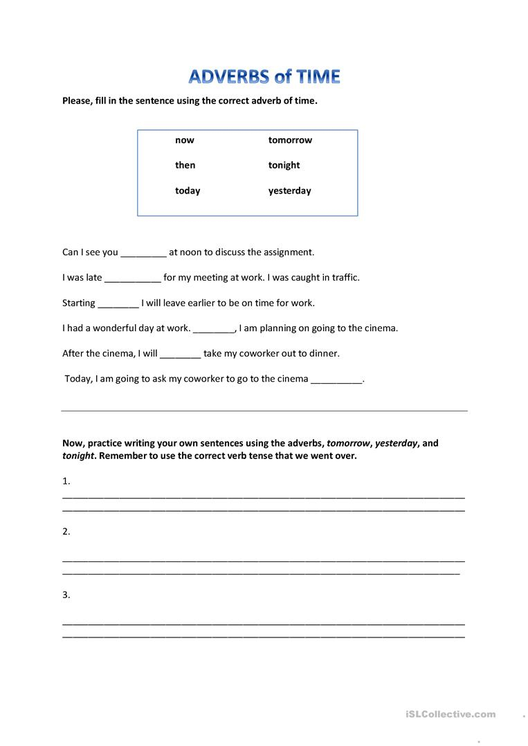 Adverbs Of Time Worksheet - Free Esl Printable Worksheets Made | Free Printable Worksheets On Adverbs For Grade 5