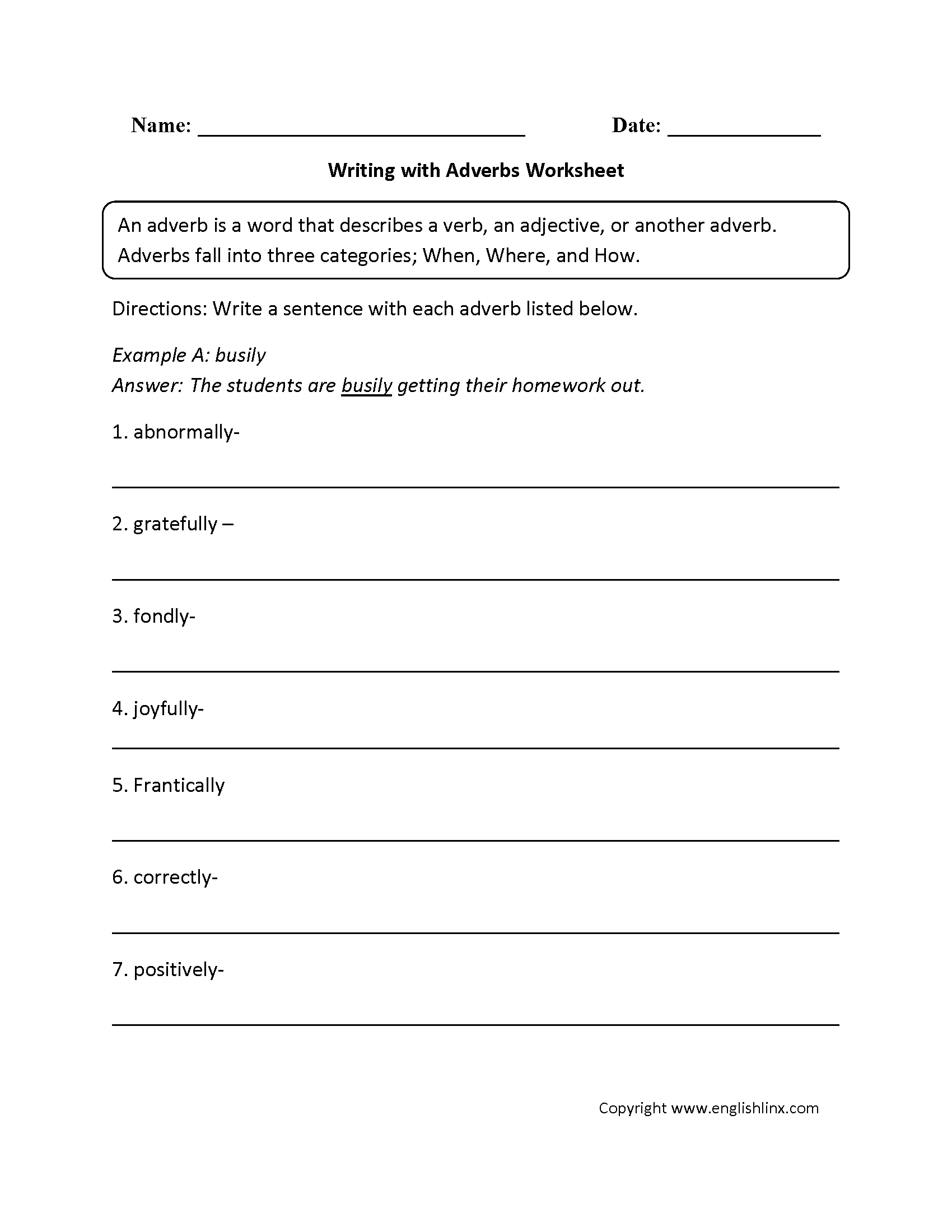 Adverbs Worksheets | Regular Adverbs Worksheets | Free Printable Worksheets On Adverbs For Grade 5