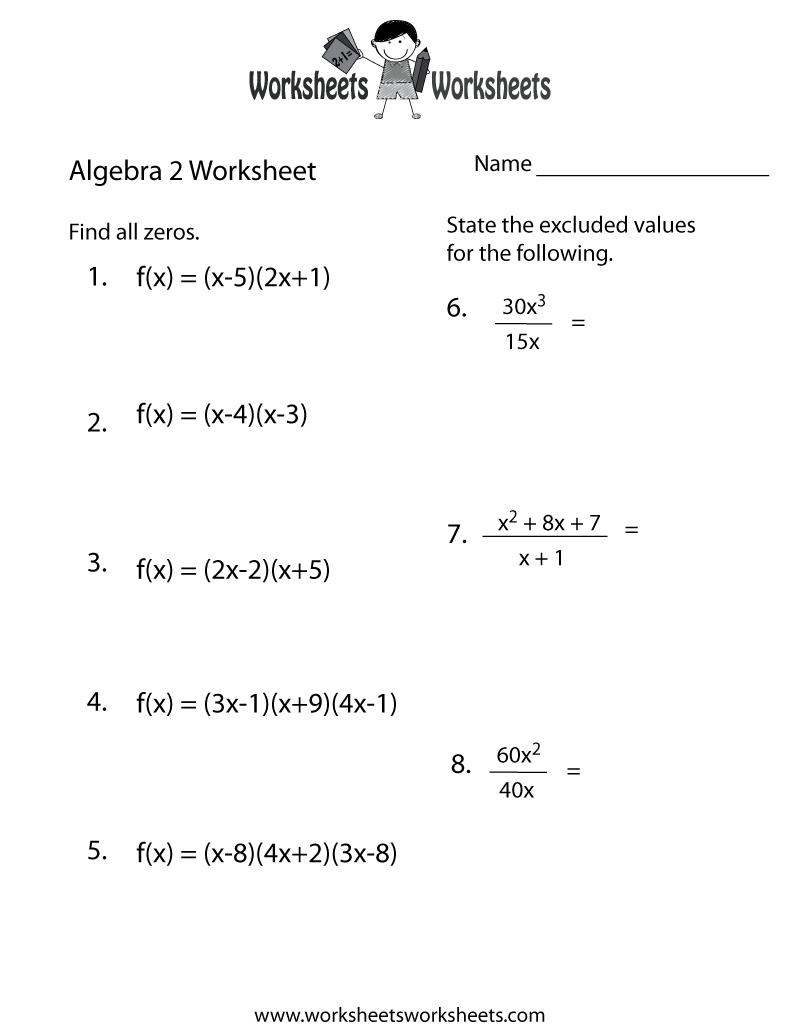 Algebra 2 Practice Worksheet Printable | Algebra Worksheets | Printable Algebra Worksheets