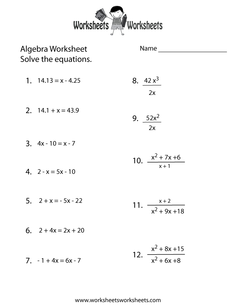 Algebra Practice Worksheet Printable | Algebra Worksheets | Algebra | Free Printable 7Th Grade Math Worksheets