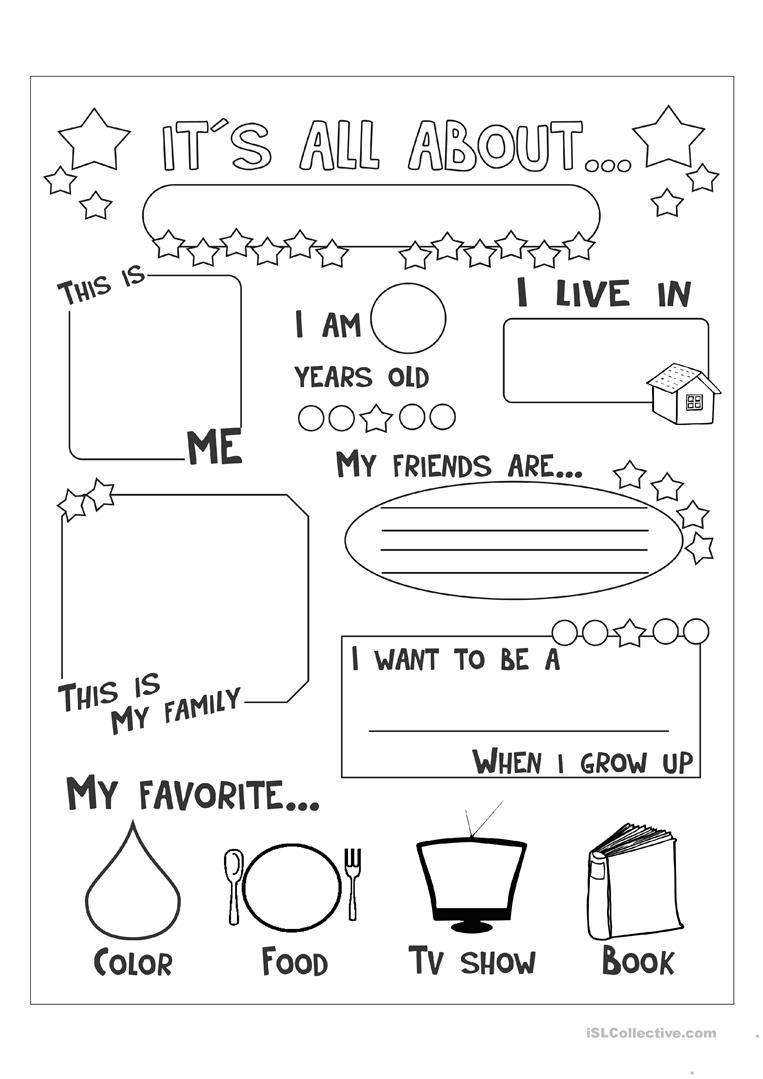 All About Me Worksheet - Free Esl Printable Worksheets Madeteachers | All About Me Printable Worksheets