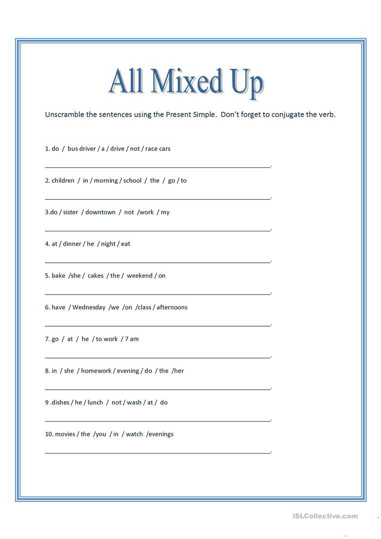 All Mixed Up ~ Sentence Scramble Worksheet - Free Esl Printable | Free Printable Scrambled Sentences Worksheets