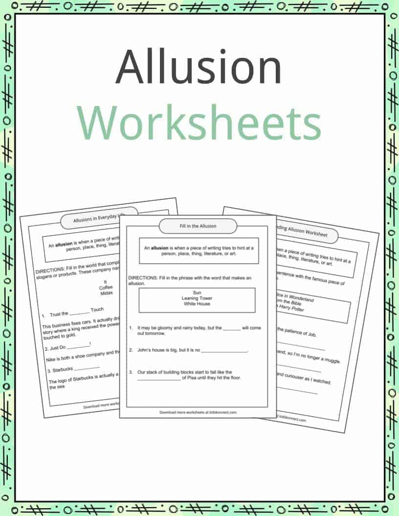 Allusion Examples, Definition And Worksheets | Kidskonnect | Foreshadowing Worksheets Printable