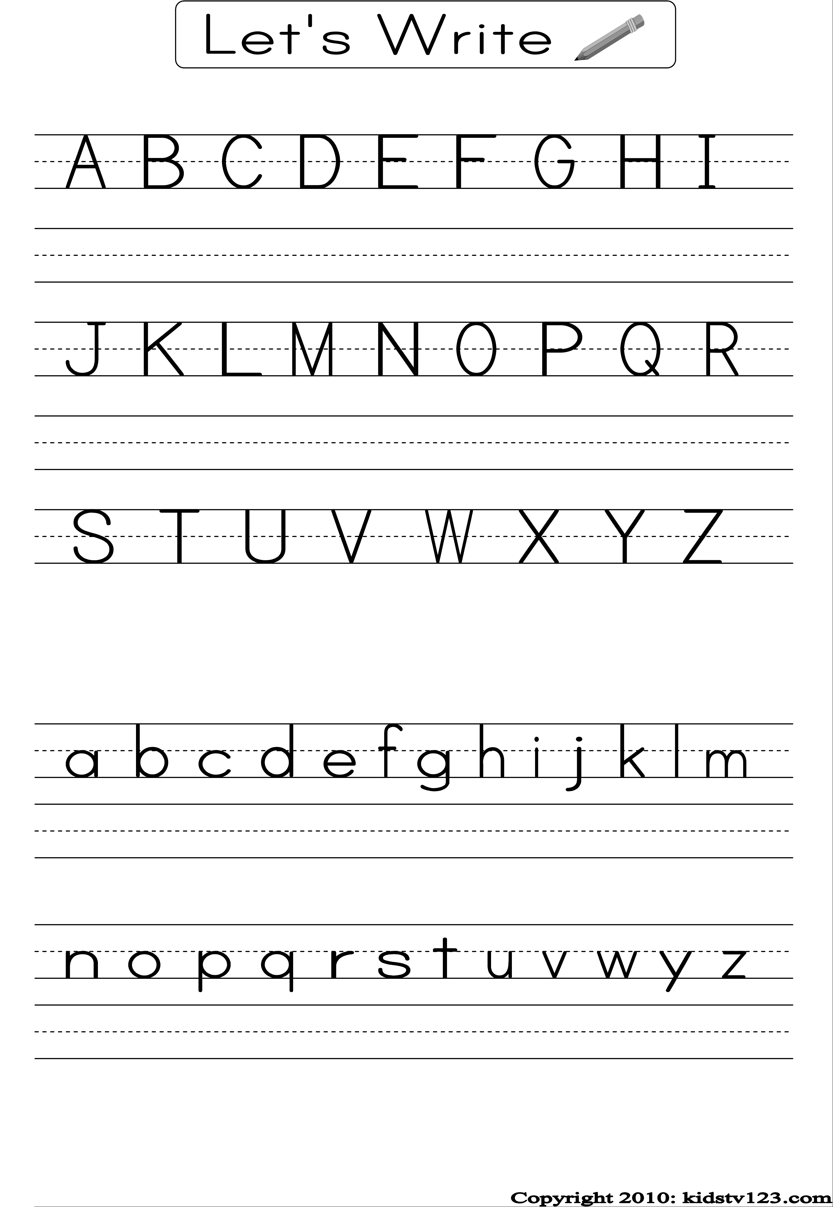 Alphabet Writing Practice Sheet | Edu-Fun | Alphabet Worksheets | Preschool Writing Worksheets Free Printable