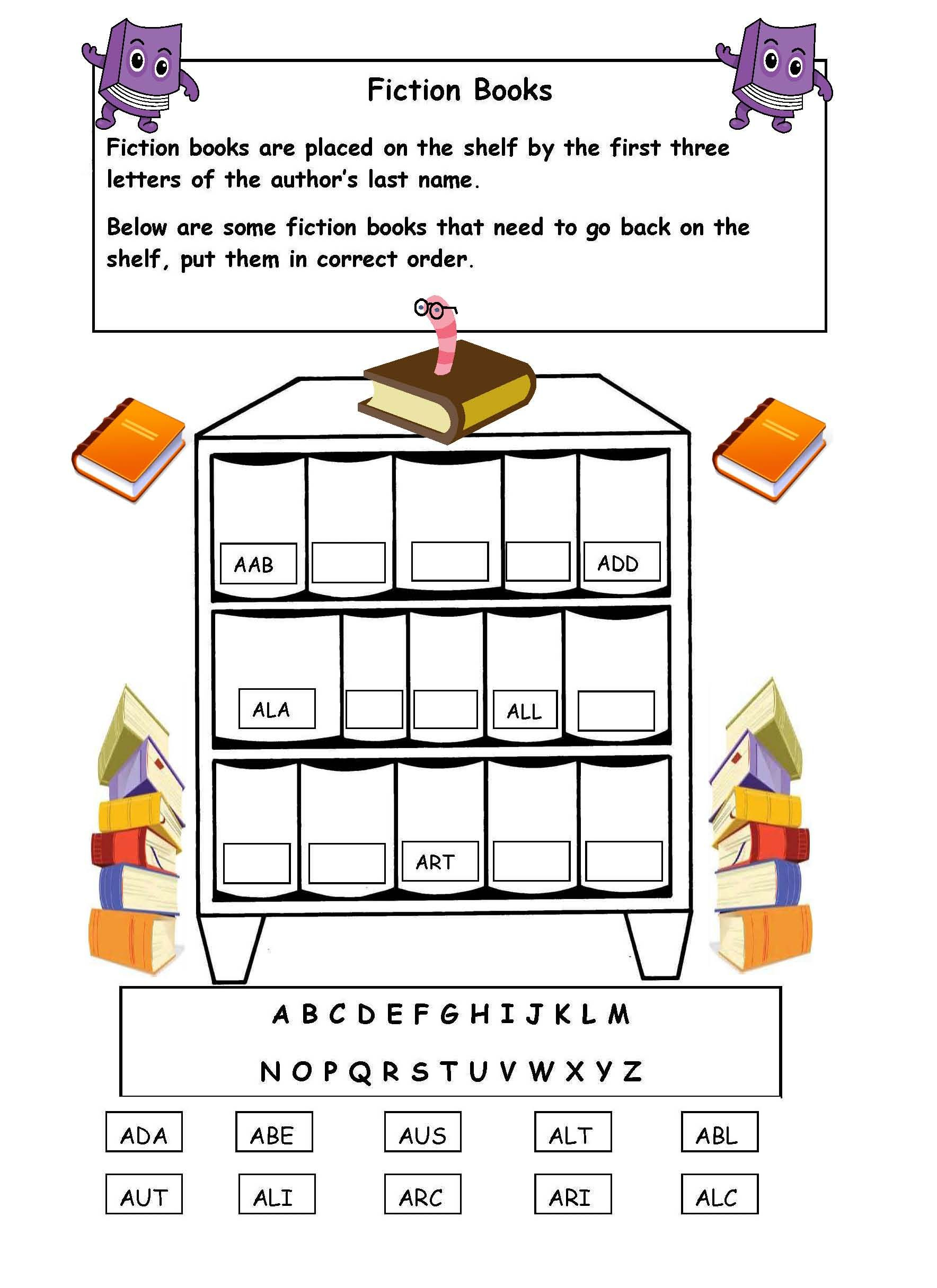 Alphabetical Order On The Shelf - Worksheet. | Library Skills - Free | Free Printable Library Skills Worksheets