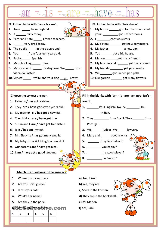 Am, Is, Are, Has, Have Worksheet - Free Esl Printable Worksheets | Free English Grammar Exercises Printable Worksheets