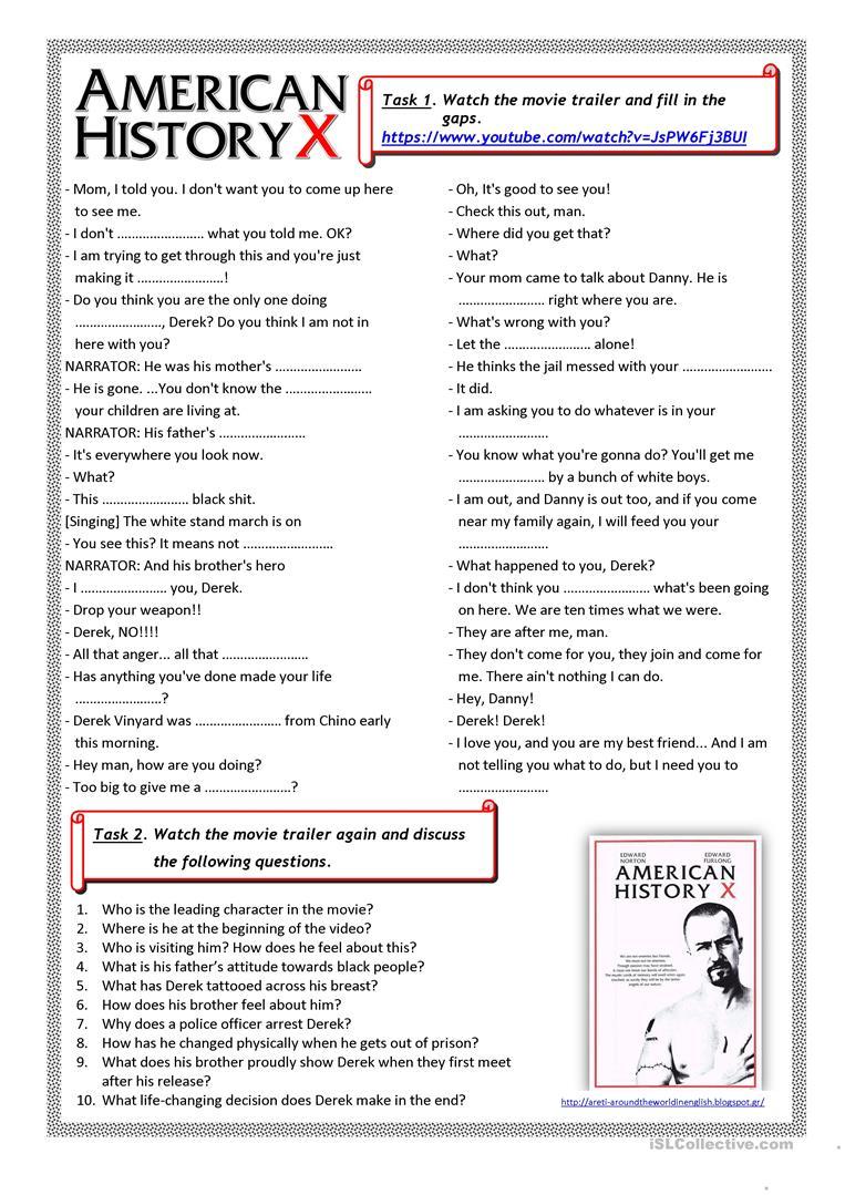 American History X (Movie Trailer) Worksheet - Free Esl Printable | Free Printable Us History Worksheets