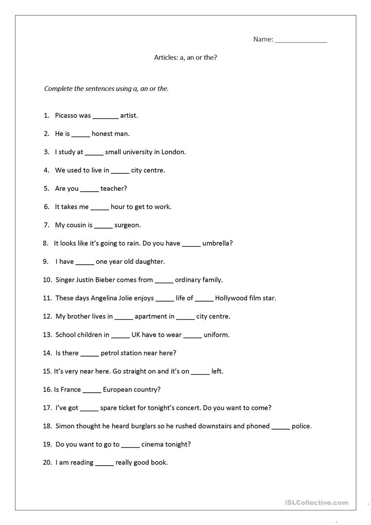 Articles Worksheet (A, An, The) Includes Answers. Worksheet - Free | Free Printable Worksheets On Articles For Grade 1