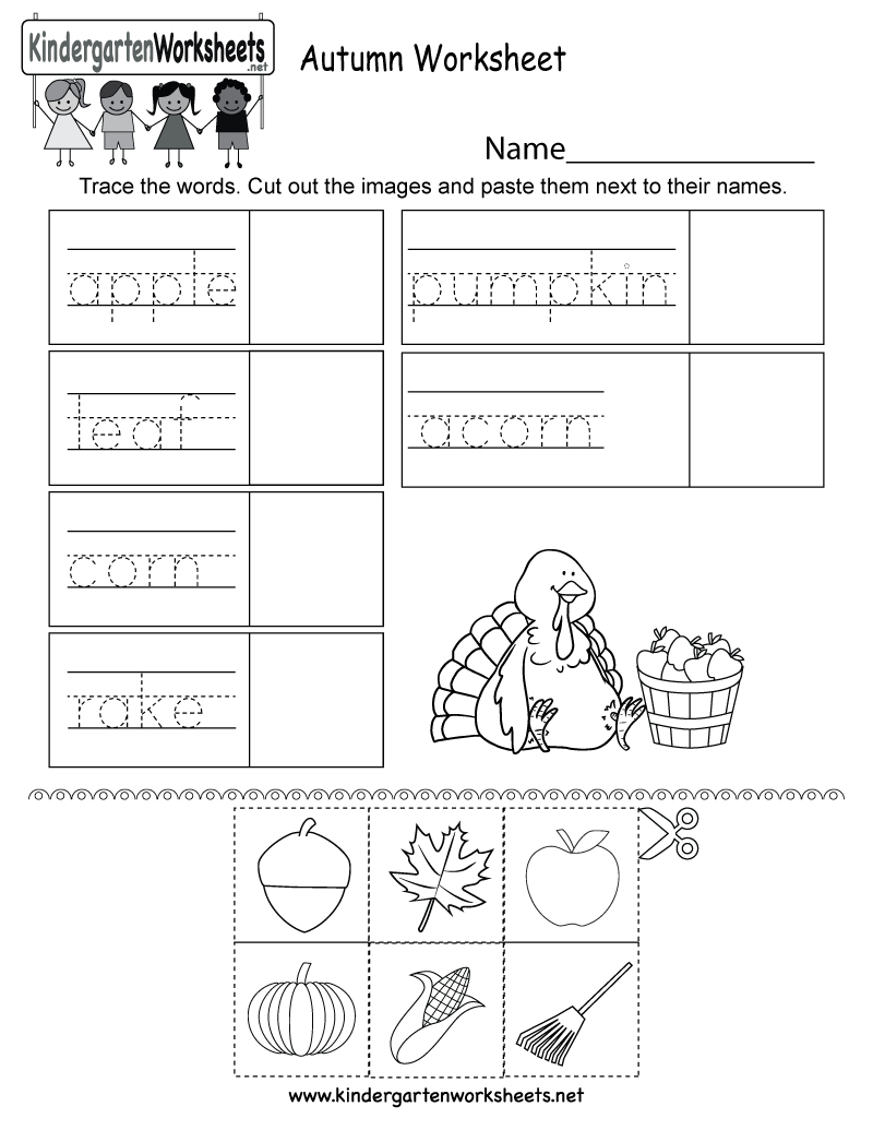 Autumn Worksheet - Free Kindergarten Seasonal Worksheet For Kids | Free Printable Fall Worksheets Kindergarten