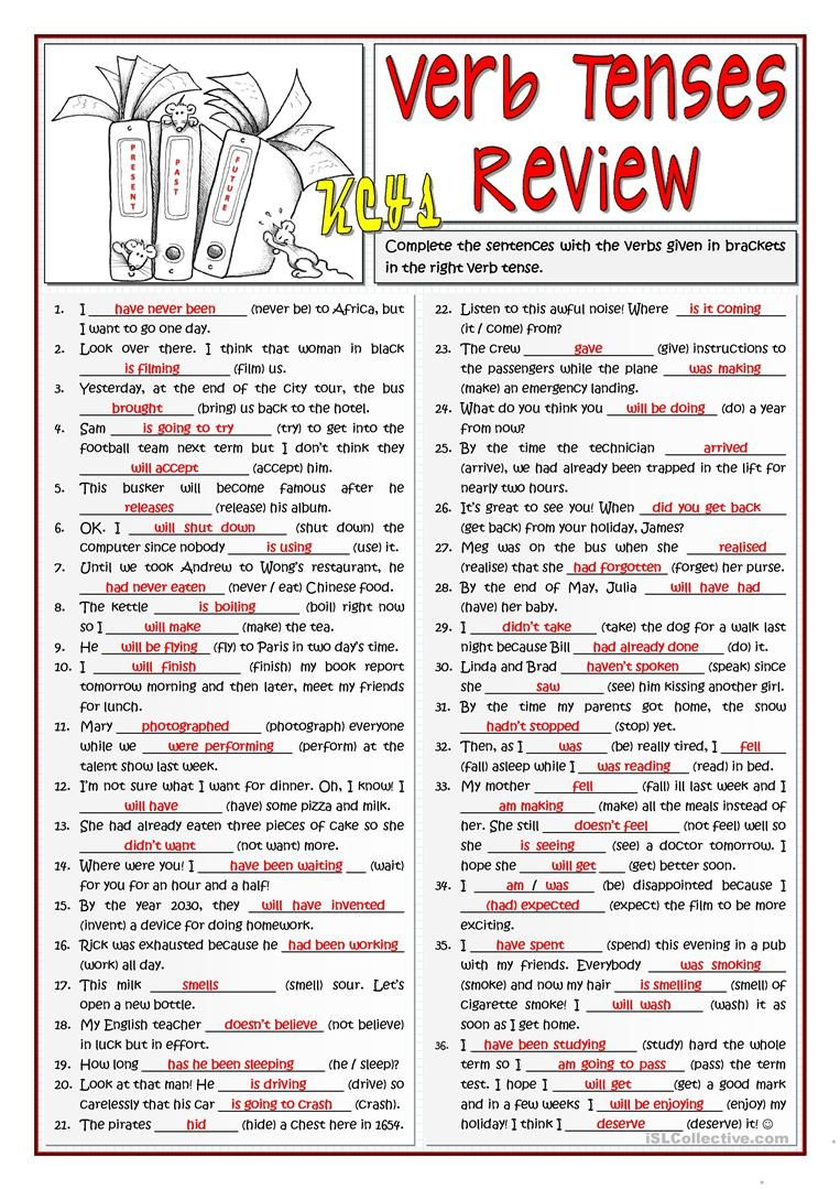 B1 Verb Tenses Review Worksheet - Free Esl Printable Worksheets Made | Free Printable Worksheets On Verb Tenses