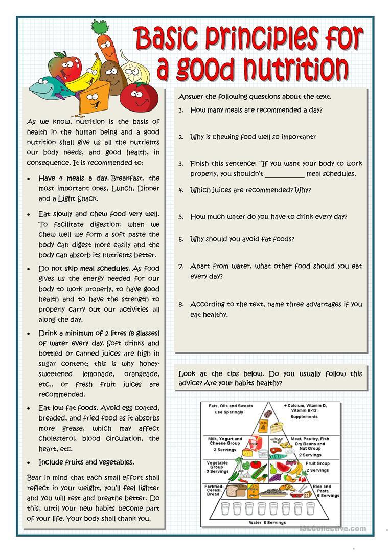 Basic Principles For A Good Nutrition Worksheet - Free Esl Printable | Free Printable Nutrition Worksheets