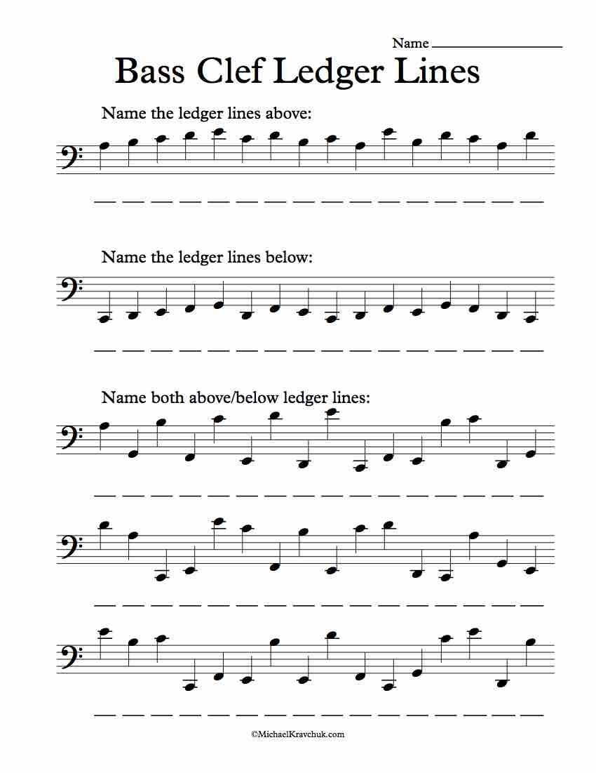 Bass Clef Ledger Lines Only – Note Recognition Worksheet In 2019 | Reading Music Worksheets Printable