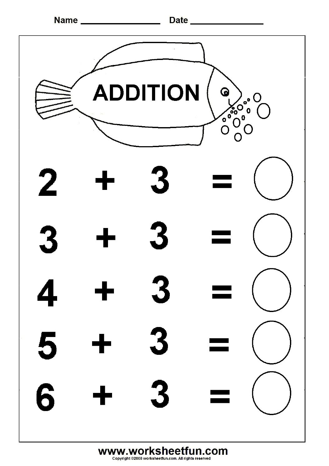 Beginner Addition – 6 Kindergarten Addition Worksheets / Free | Free Printable Simple Math Worksheets