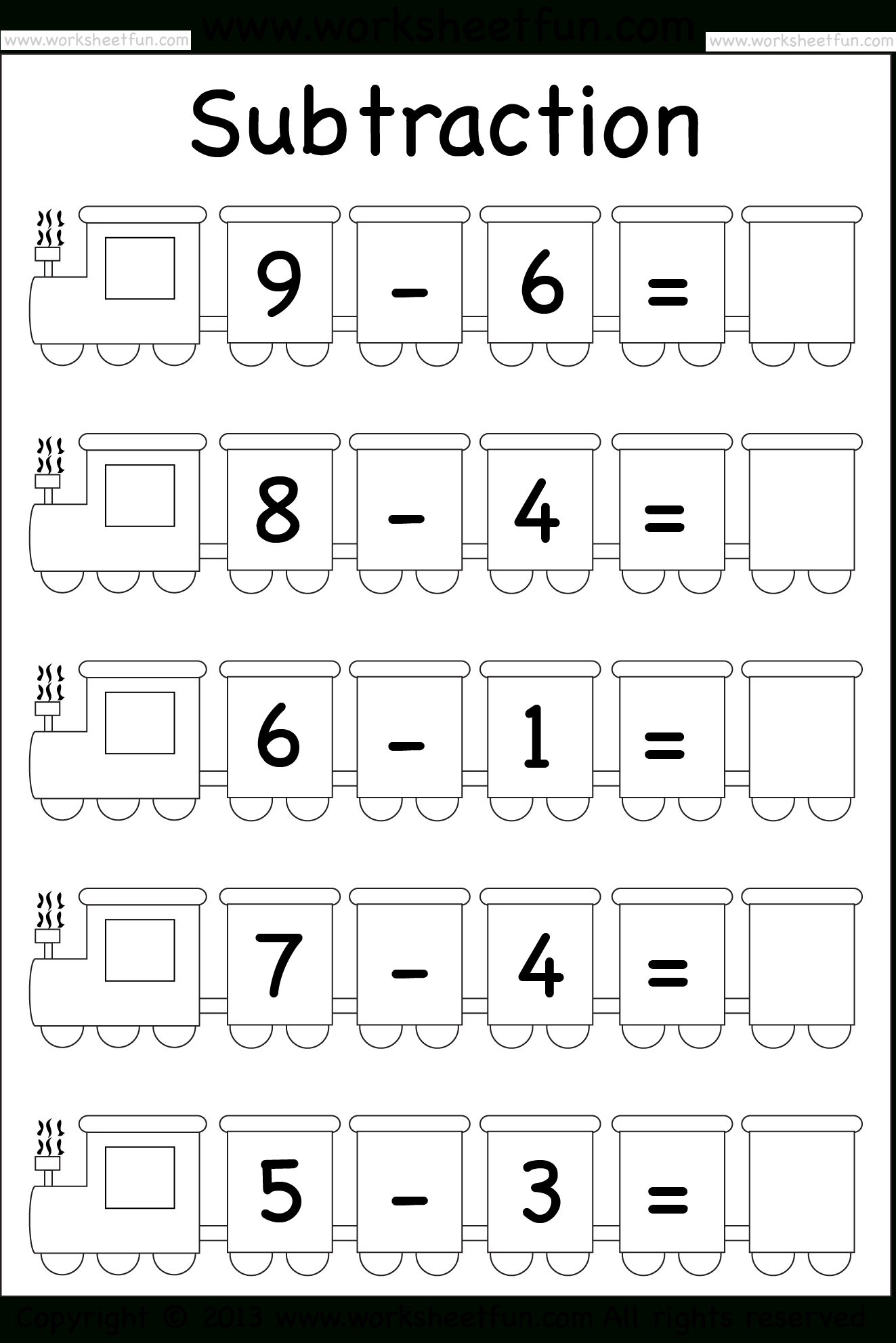 Beginner Subtraction – 5 Kindergarten Subtraction Worksheets / Free | Printable Subtraction Worksheets