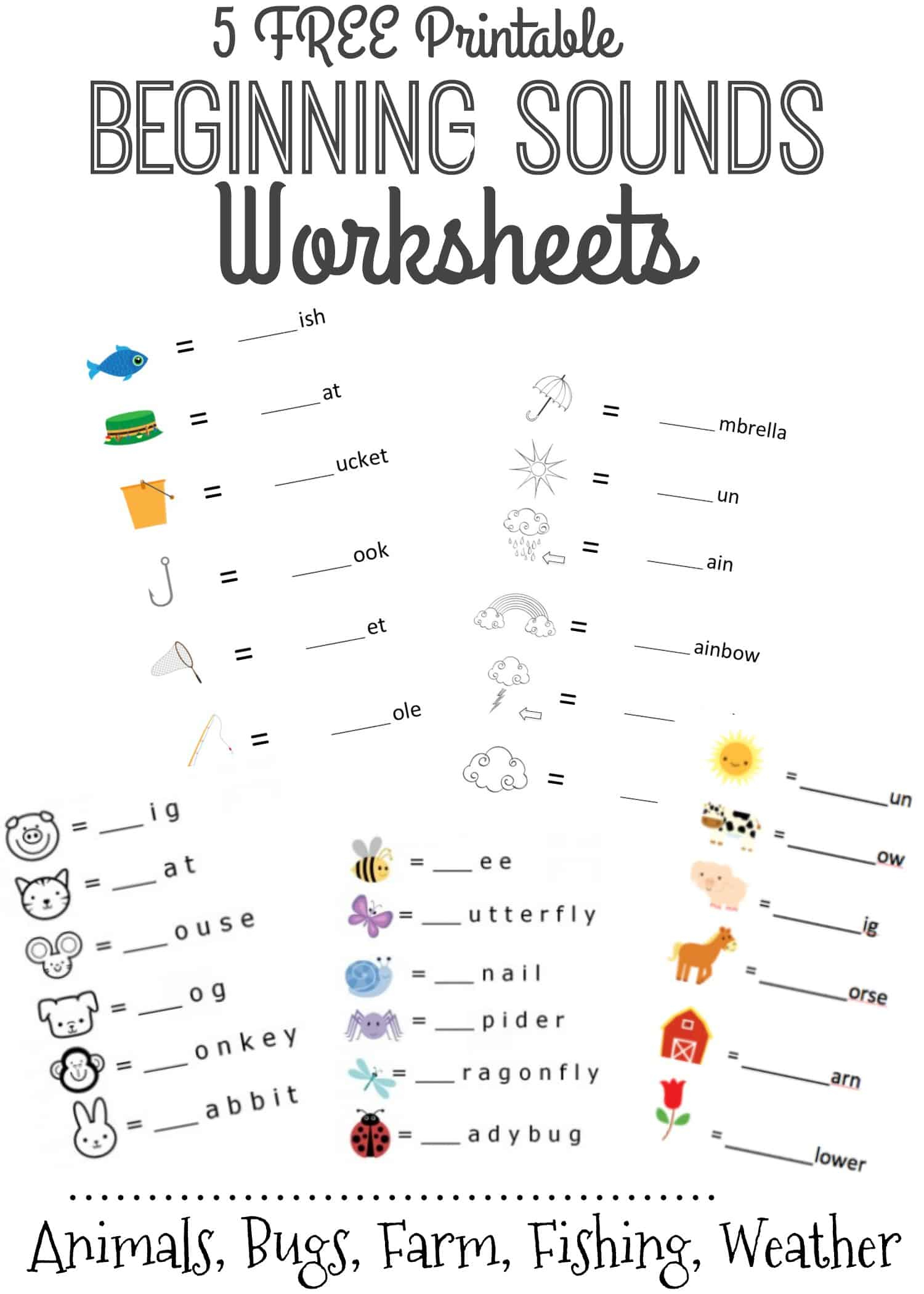 Beginning Sounds Letter Worksheets For Early Learners | Printable Beginning Sounds Worksheets