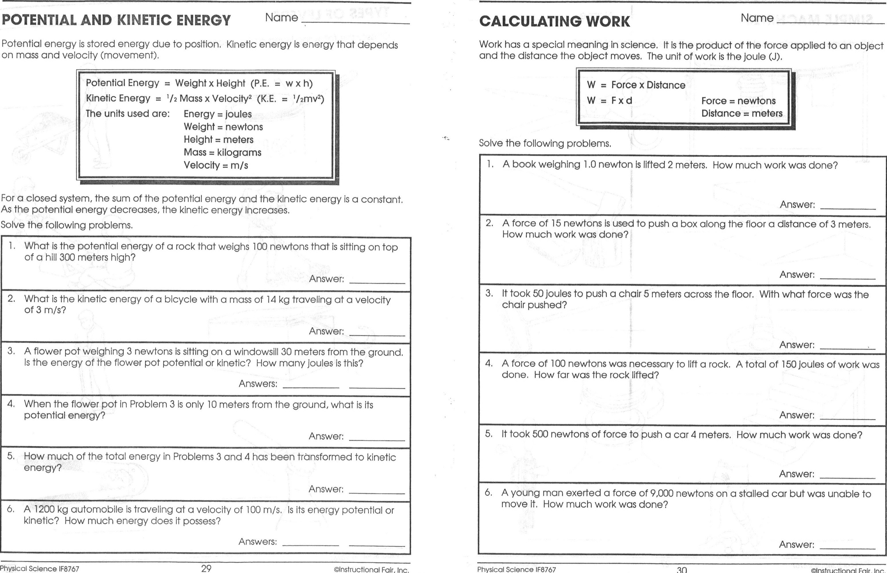 Best Of Potential Vs Kinetic Energy Worksheet Answers New Collection | Free Printable Worksheets On Potential And Kinetic Energy