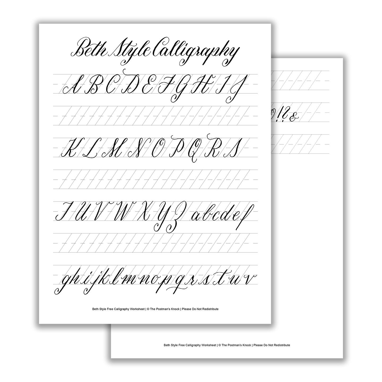 Beth Style Calligraphy Standard Worksheet | The Postman's Knock | Printable Calligraphy Practice Worksheets