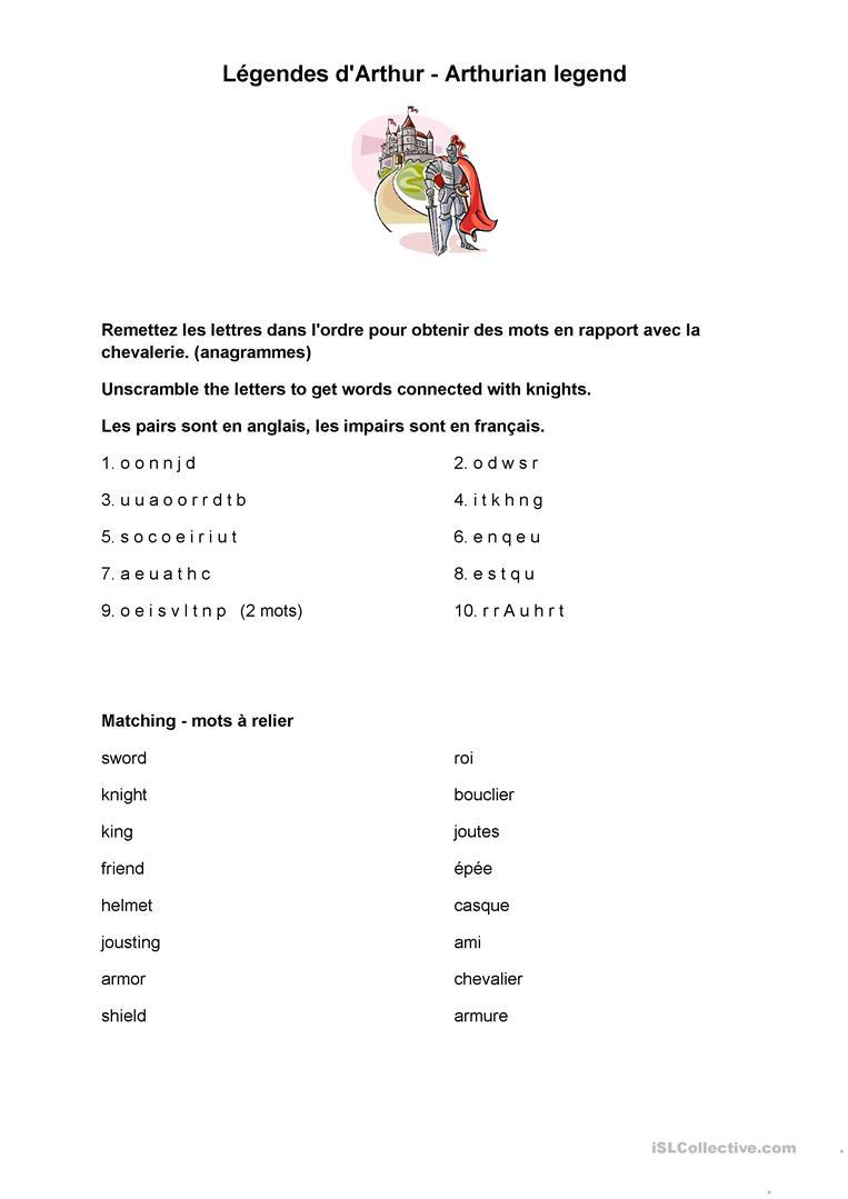 Bilingual Activities On King Arthur Worksheet - Free Esl Printable | Bilingual Worksheets Printable