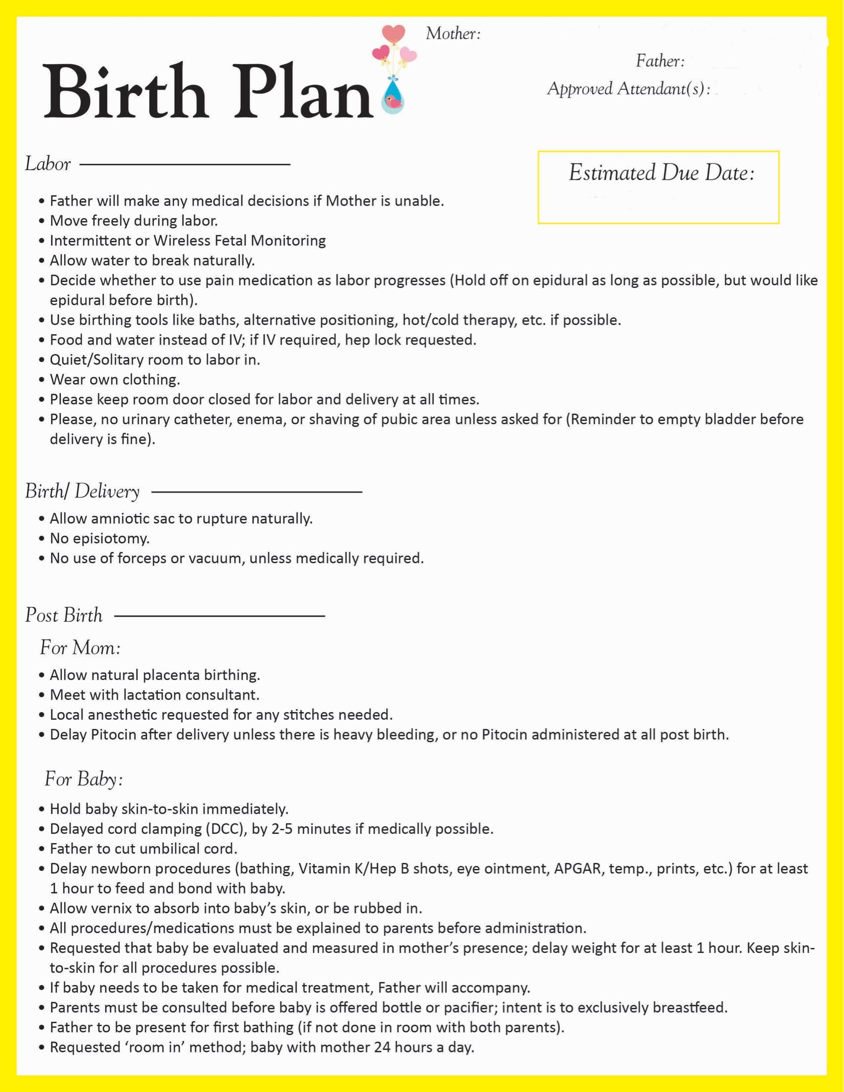 Birth Plan- Going To Make Some Edits, But This Is A Good General   Birth Plan Worksheet Printable